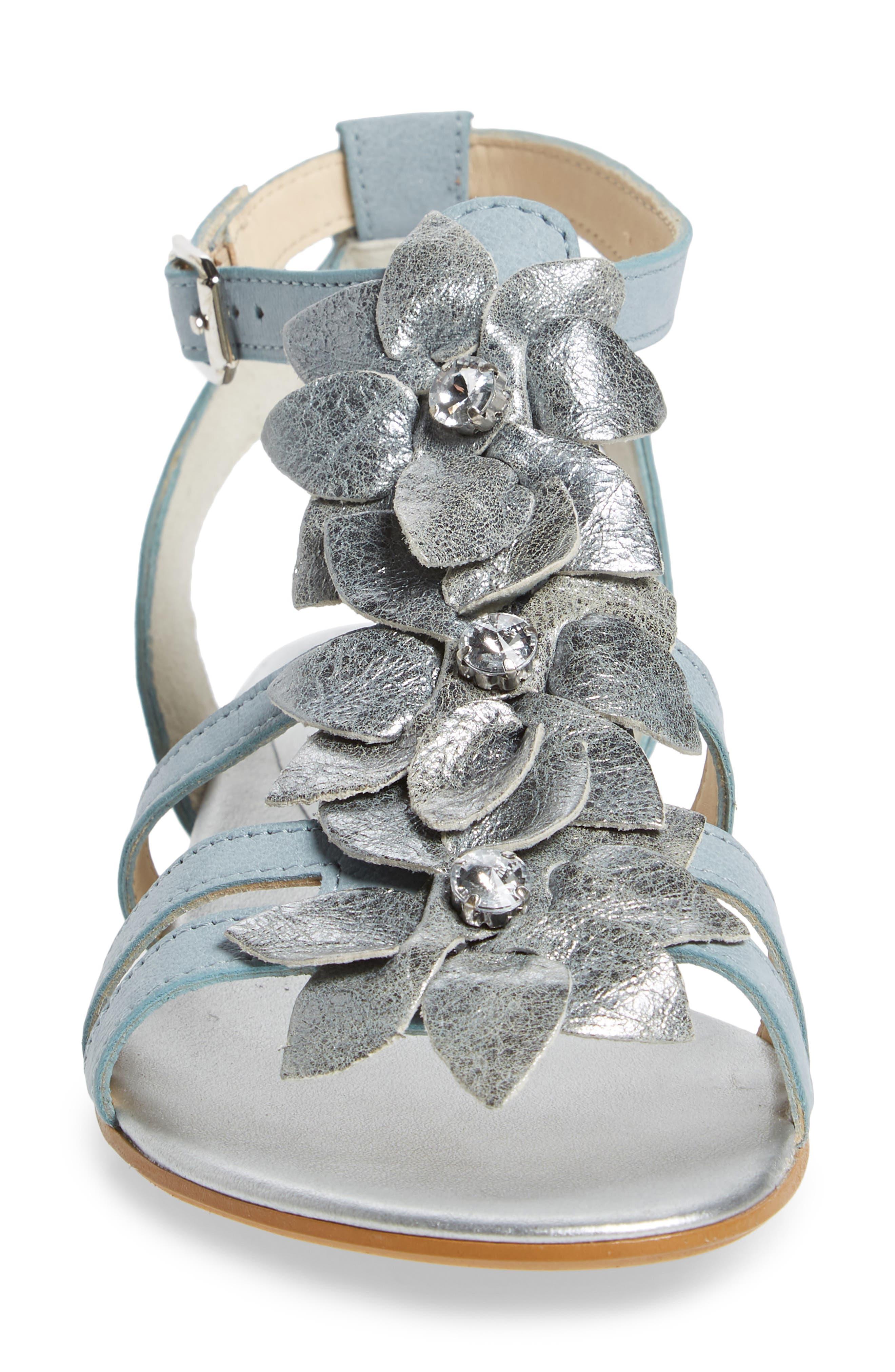 Norien Embellished Flower Sandal,                             Alternate thumbnail 4, color,                             Lago Brushed Leather