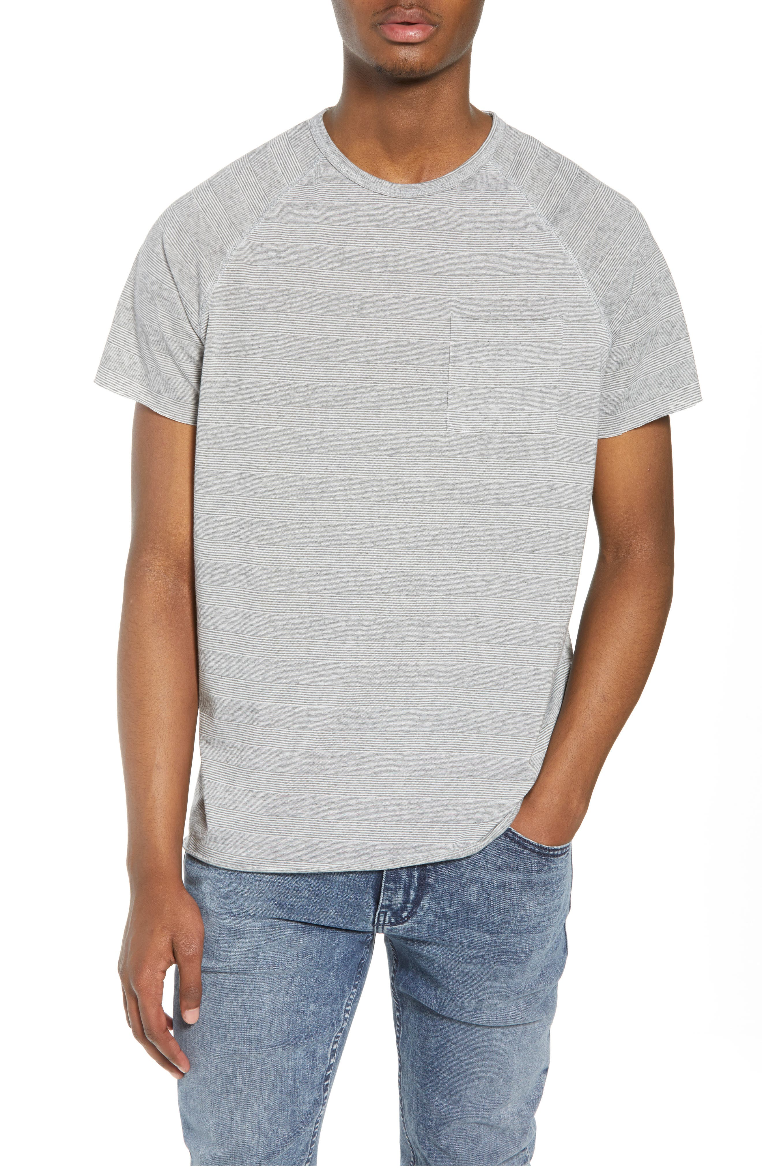 Stripe Pocket T-Shirt,                             Main thumbnail 1, color,                             Grey Heather Variegated Stripe