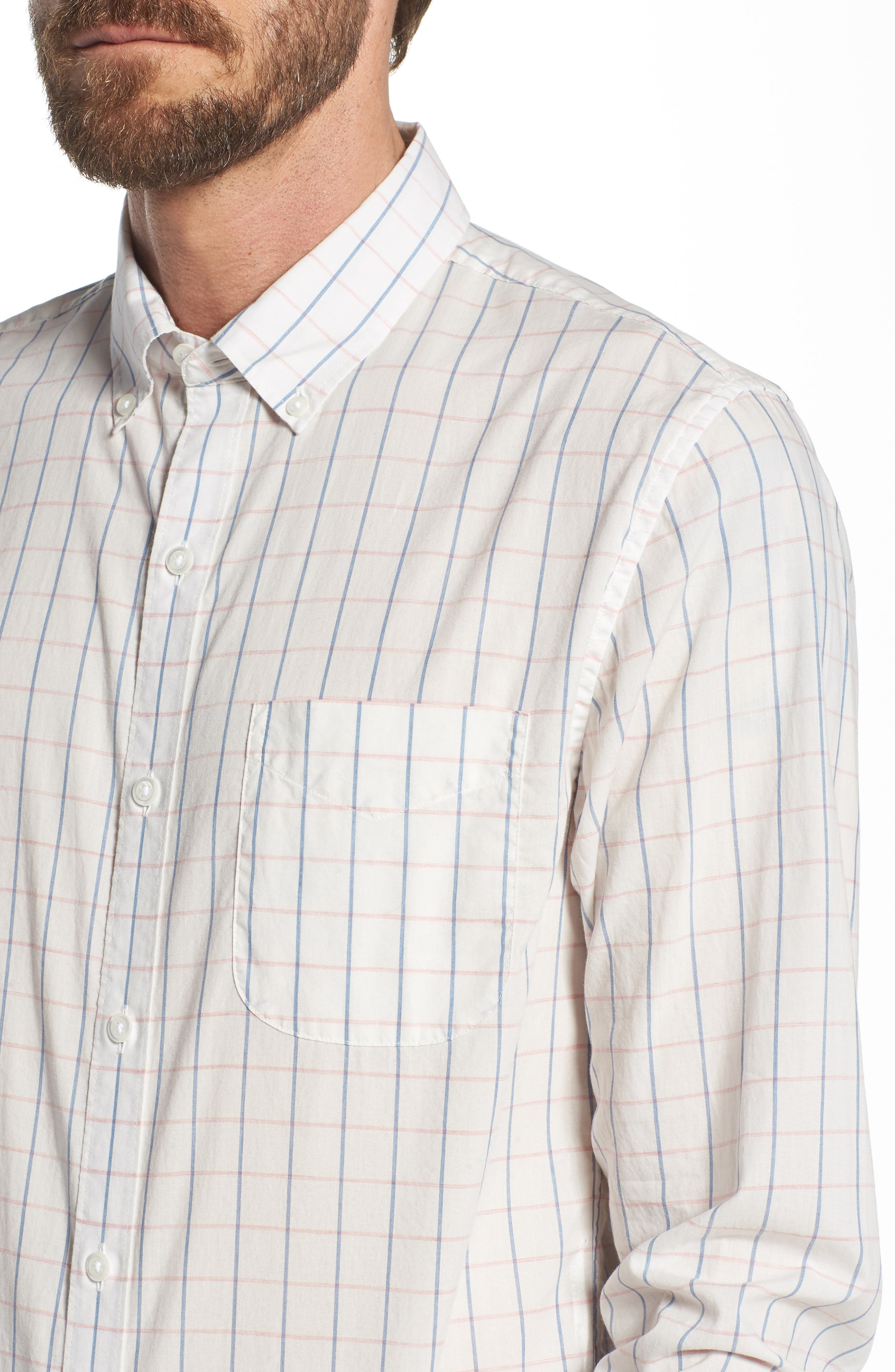 Summerweight Slim Fit Check Sport Shirt,                             Alternate thumbnail 2, color,                             Coyote Check - Heather Rose