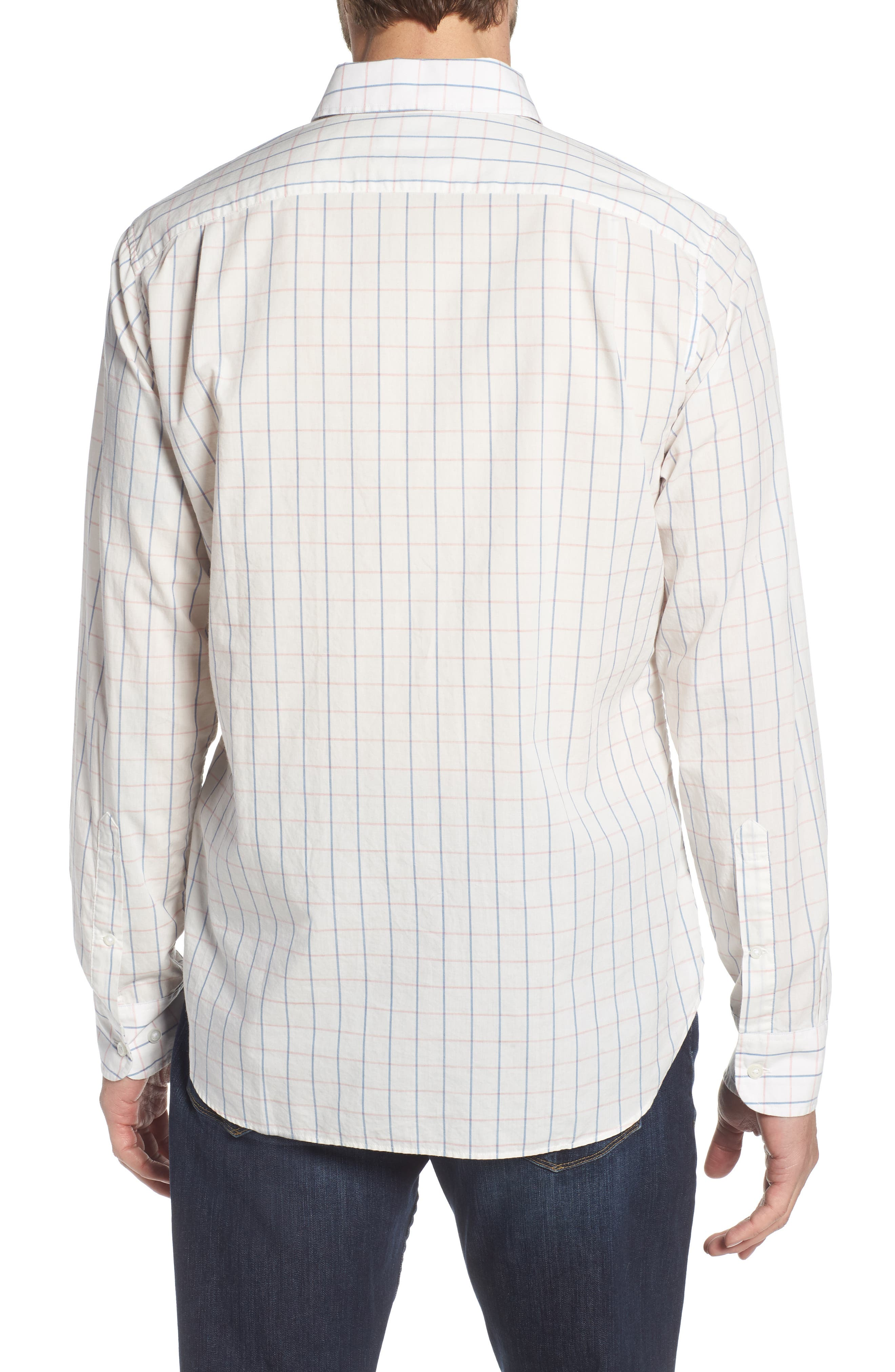 Summerweight Slim Fit Check Sport Shirt,                             Alternate thumbnail 3, color,                             Coyote Check - Heather Rose