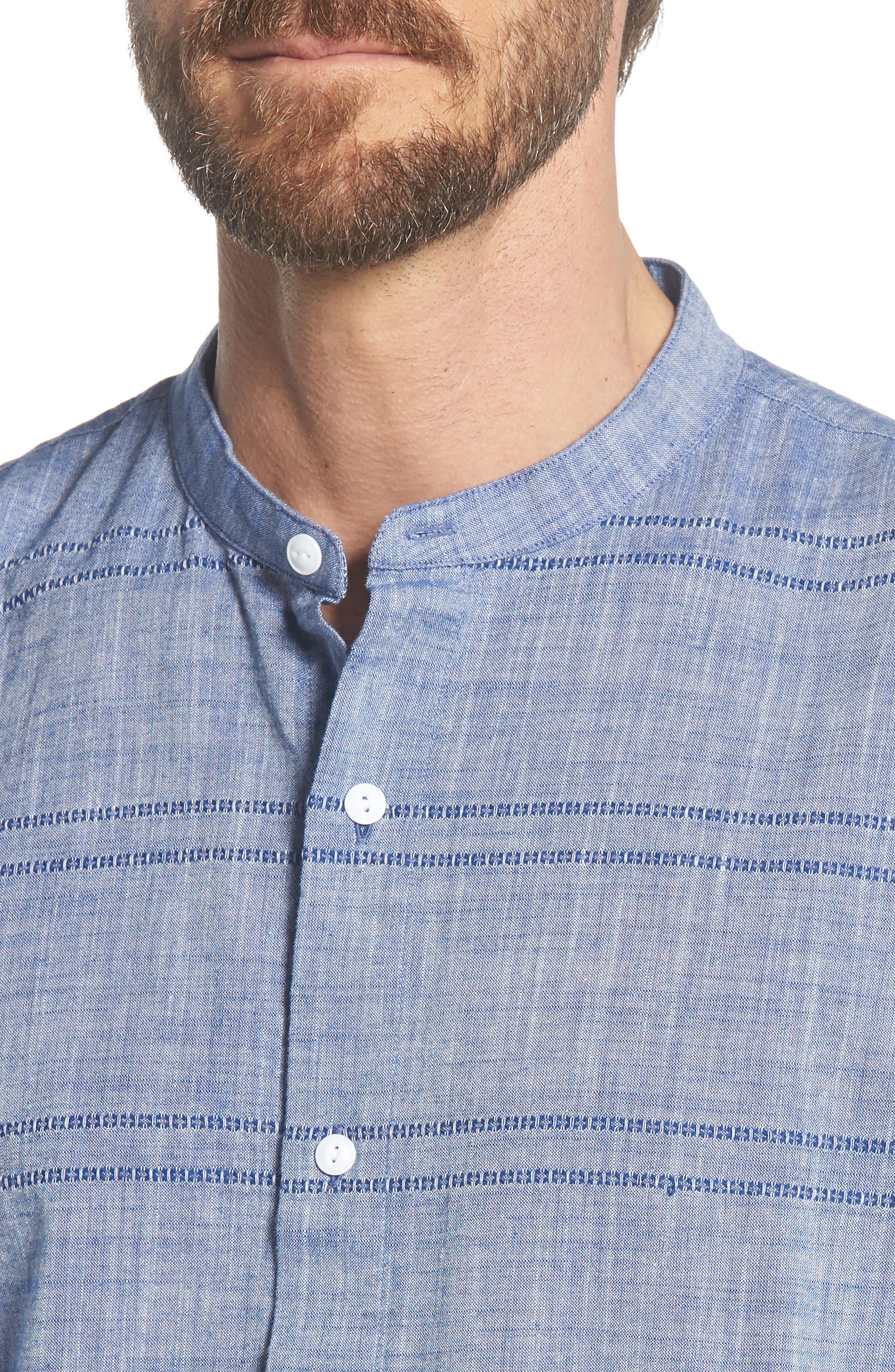 Beach Slim Fit Stripe Sport Shirt,                             Alternate thumbnail 2, color,                             Oak Bluffs Awning - Blue