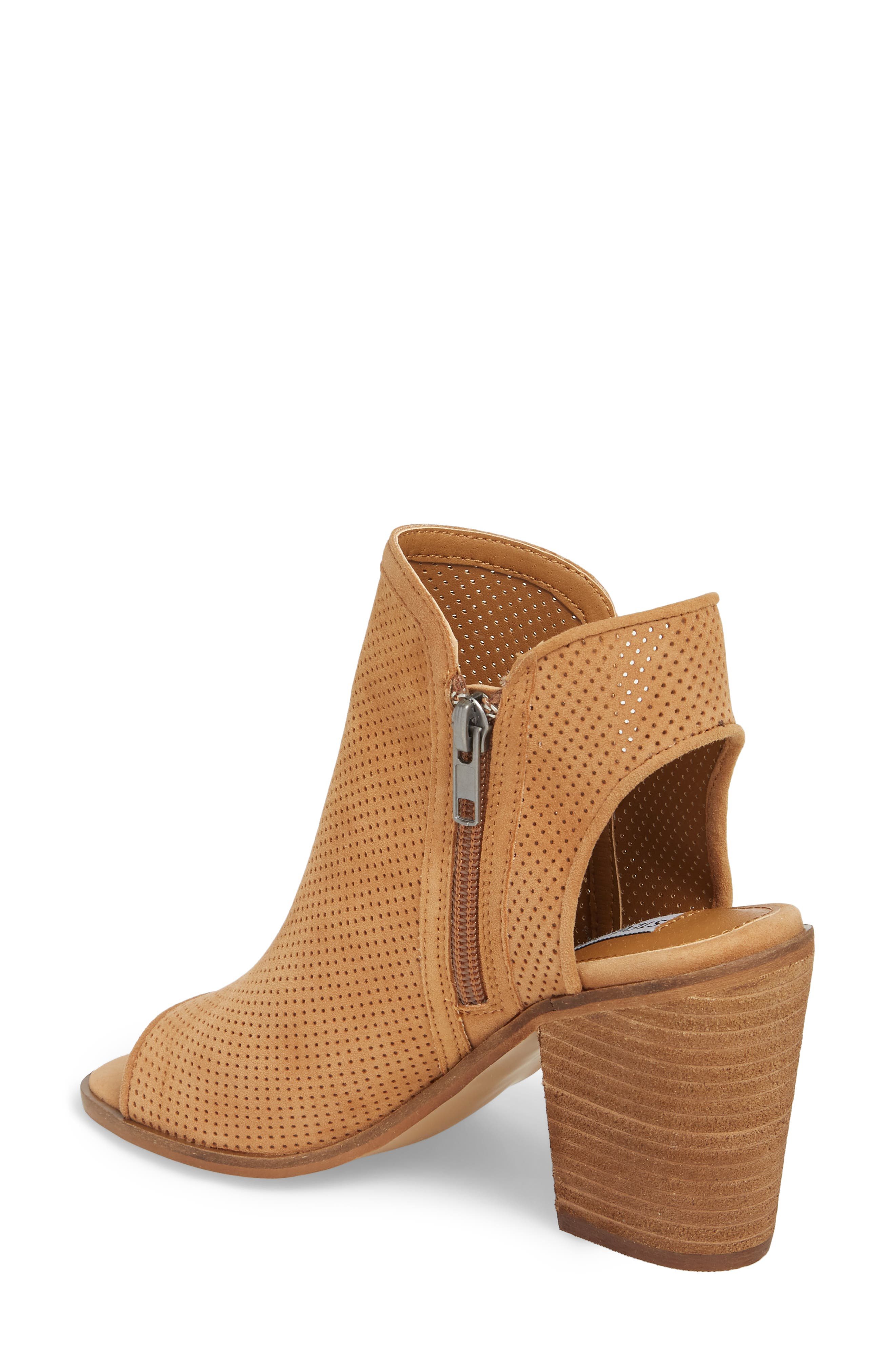 Maxine Perforated Bootie,                             Alternate thumbnail 2, color,                             Cognac Suede
