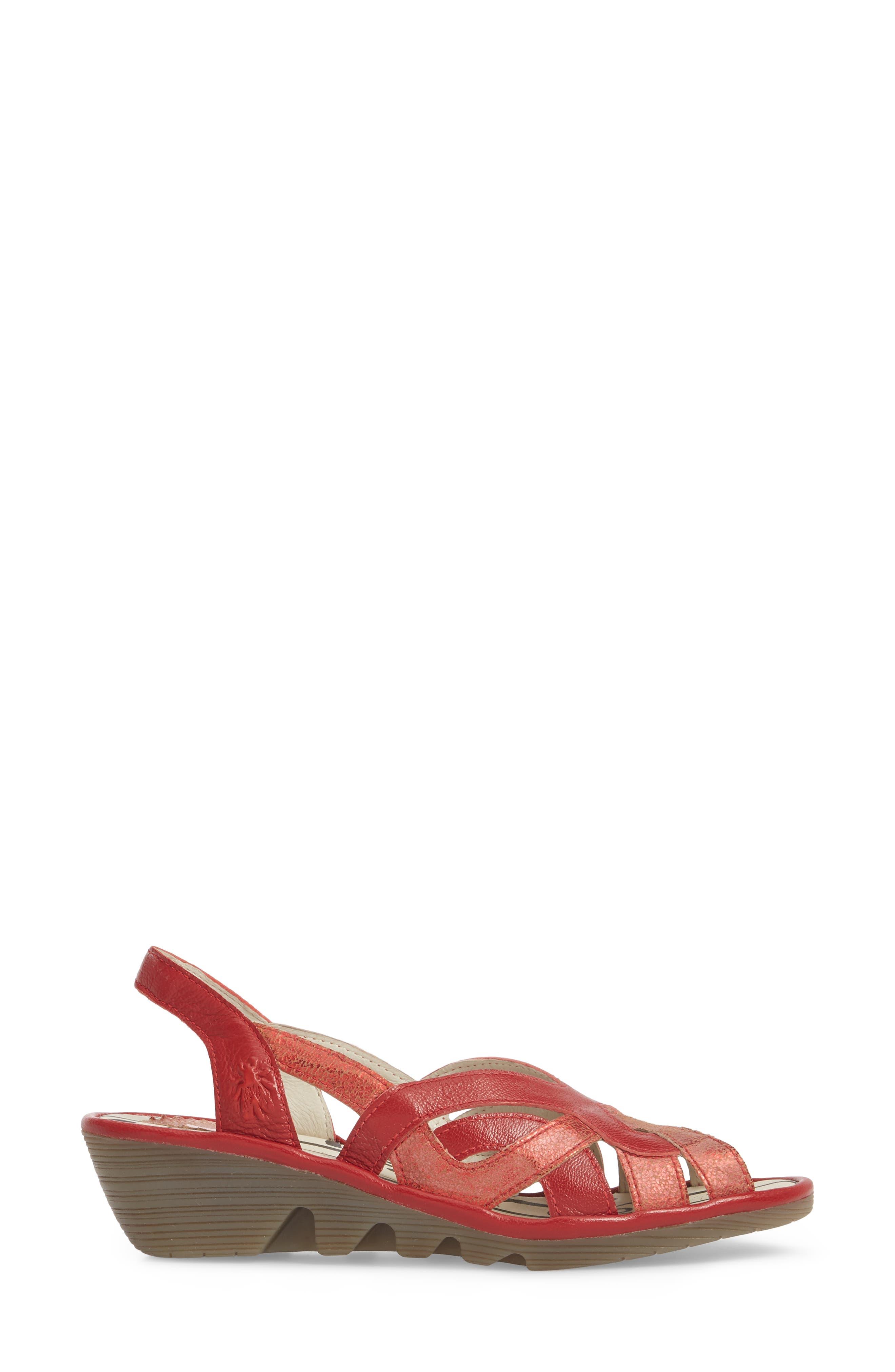 Pima Sandal,                             Alternate thumbnail 3, color,                             Red Mix Leather
