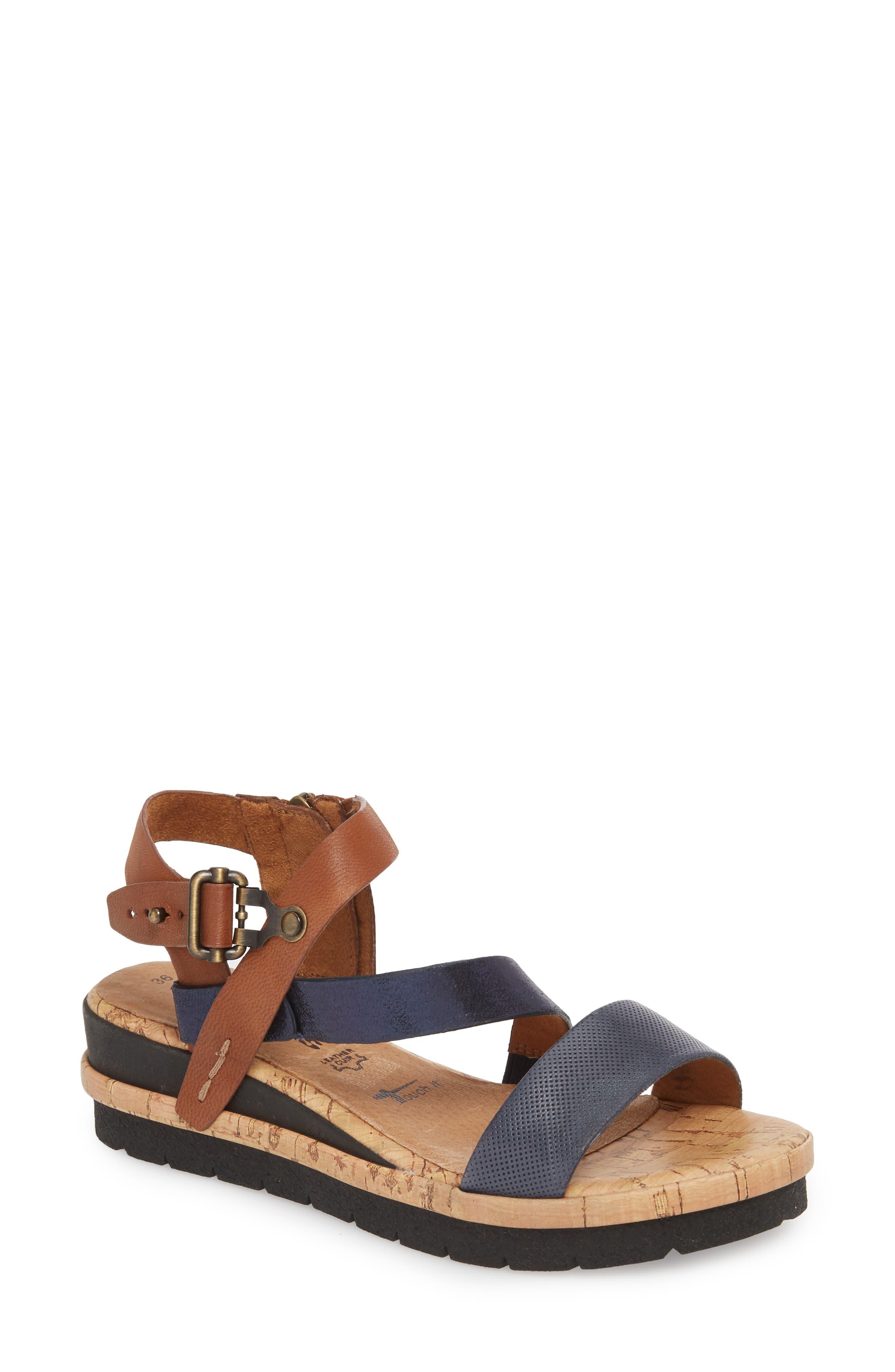 Eda Diagonal Strap Wedge Sandal,                         Main,                         color, Navy/ Cognac Leather