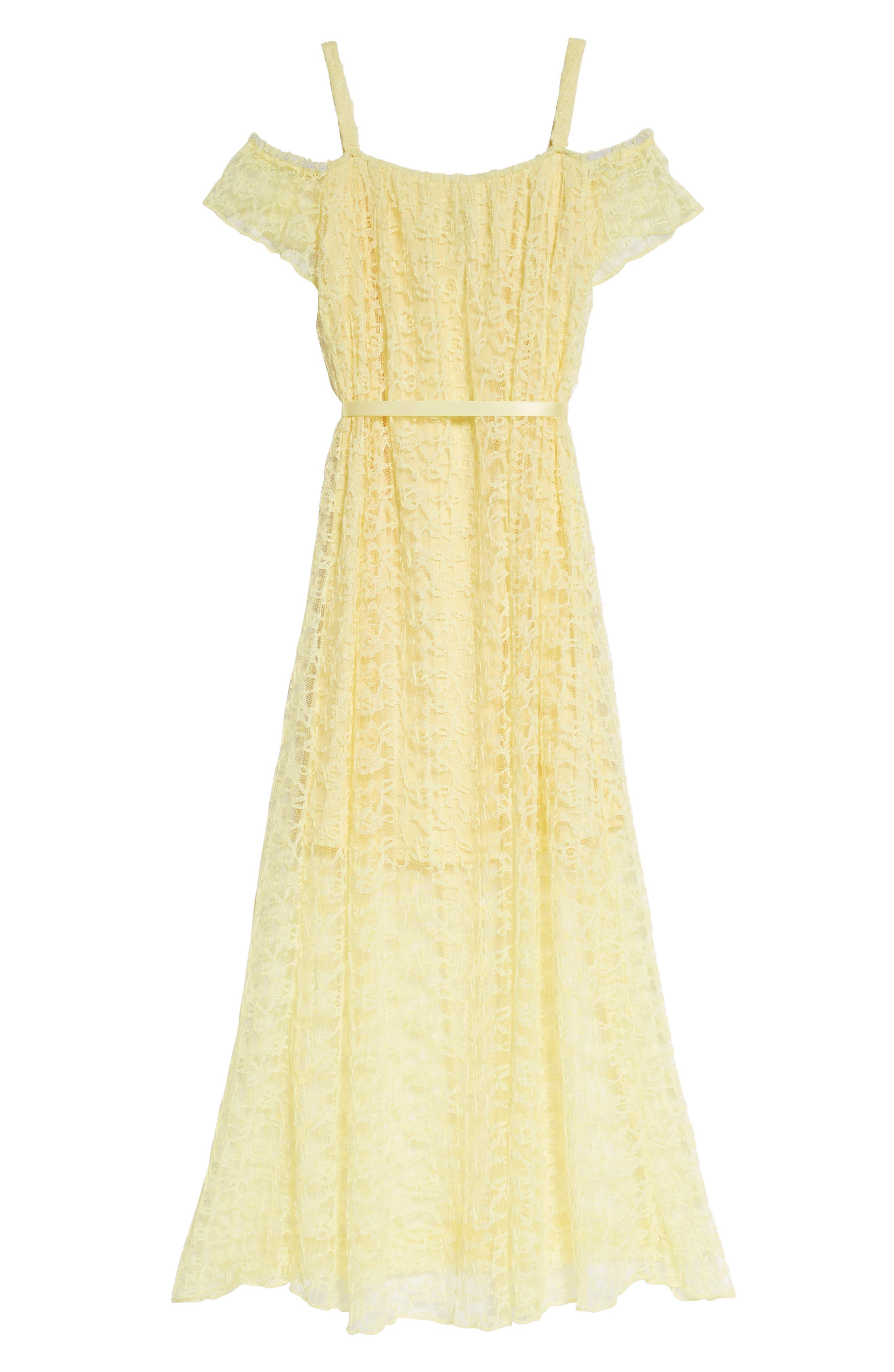 Lace Cold Shoulder Maxi Dress,                         Main,                         color, Yellow