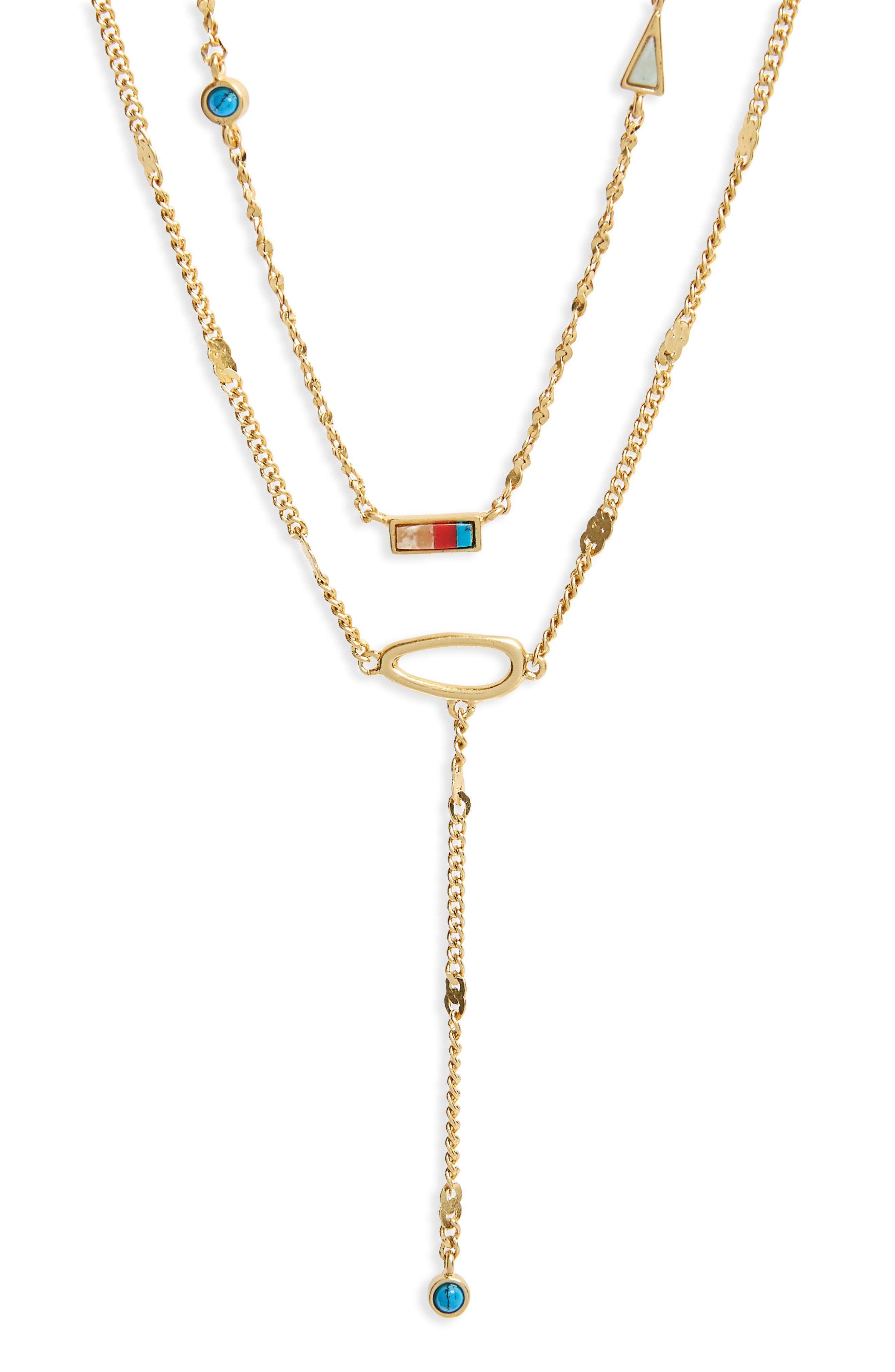 Delicate Stone Inlay Layer Pendant Necklace,                         Main,                         color, Vintage Gold