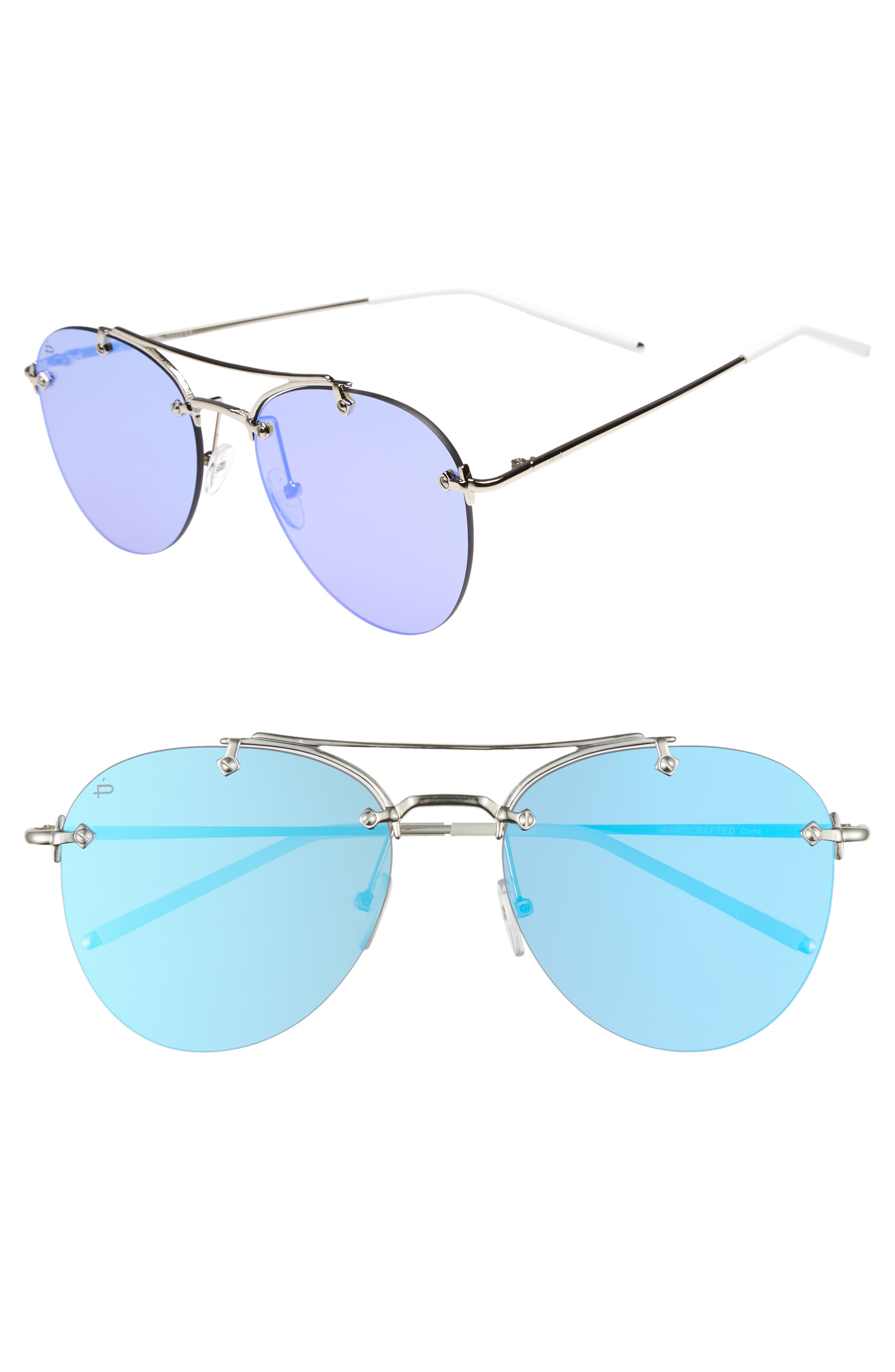 Privé Revaux The Dutchess 57mm Aviator Sunglasses,                             Main thumbnail 1, color,                             Silver
