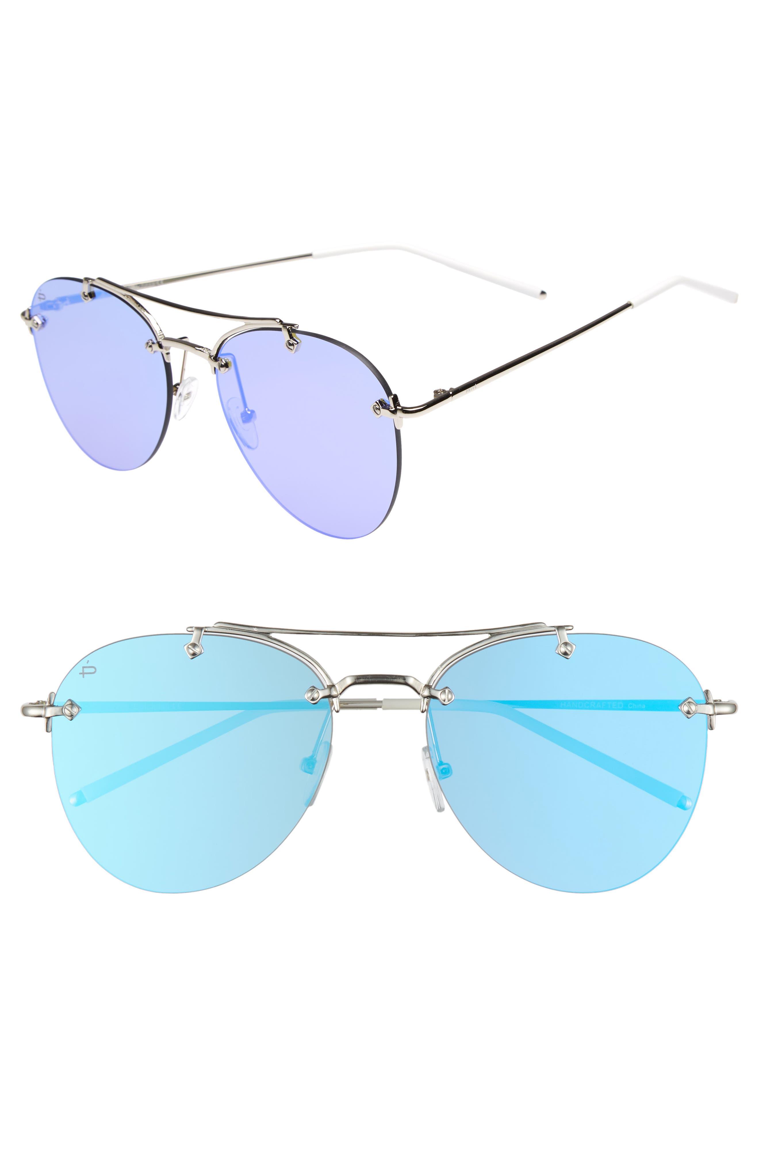 Privé Revaux The Dutchess 57mm Aviator Sunglasses,                         Main,                         color, Silver