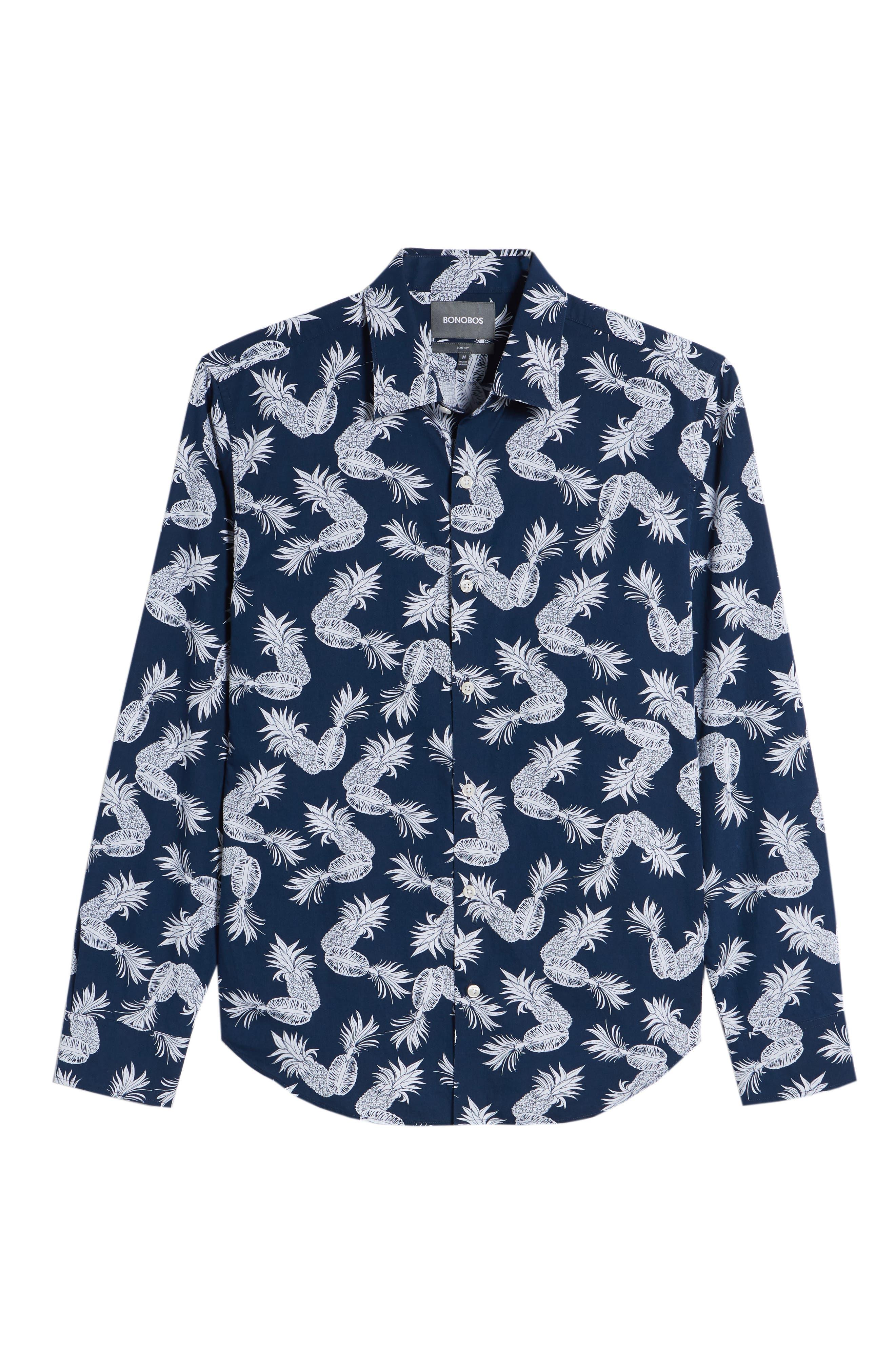 Unbutton Down Slim Fit Print Sport Shirt,                             Alternate thumbnail 6, color,                             Fancy Pineapples - Pacific