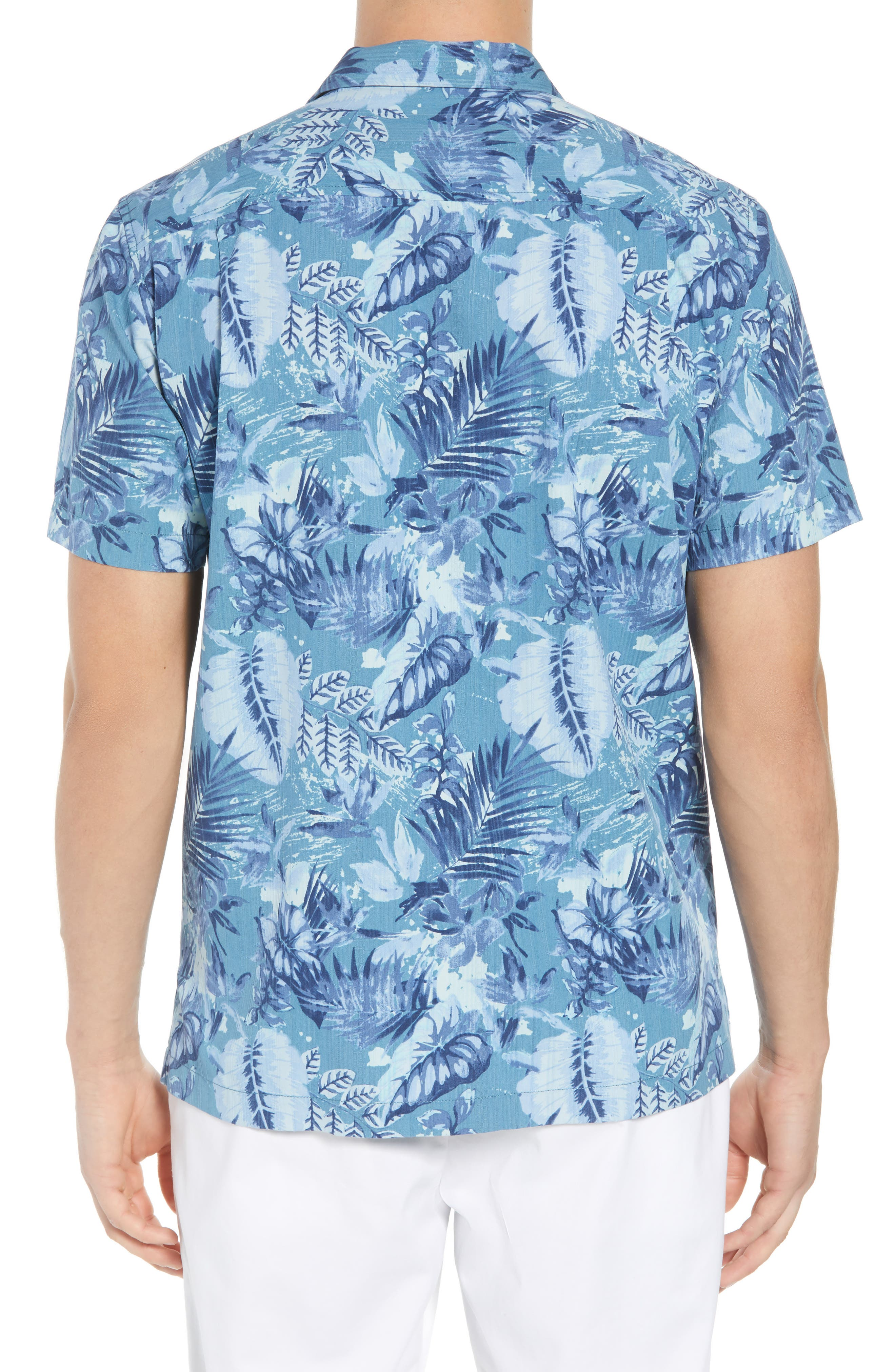 Selva Shores Silk Blend Camp Shirt,                             Alternate thumbnail 3, color,                             Ocean Deep