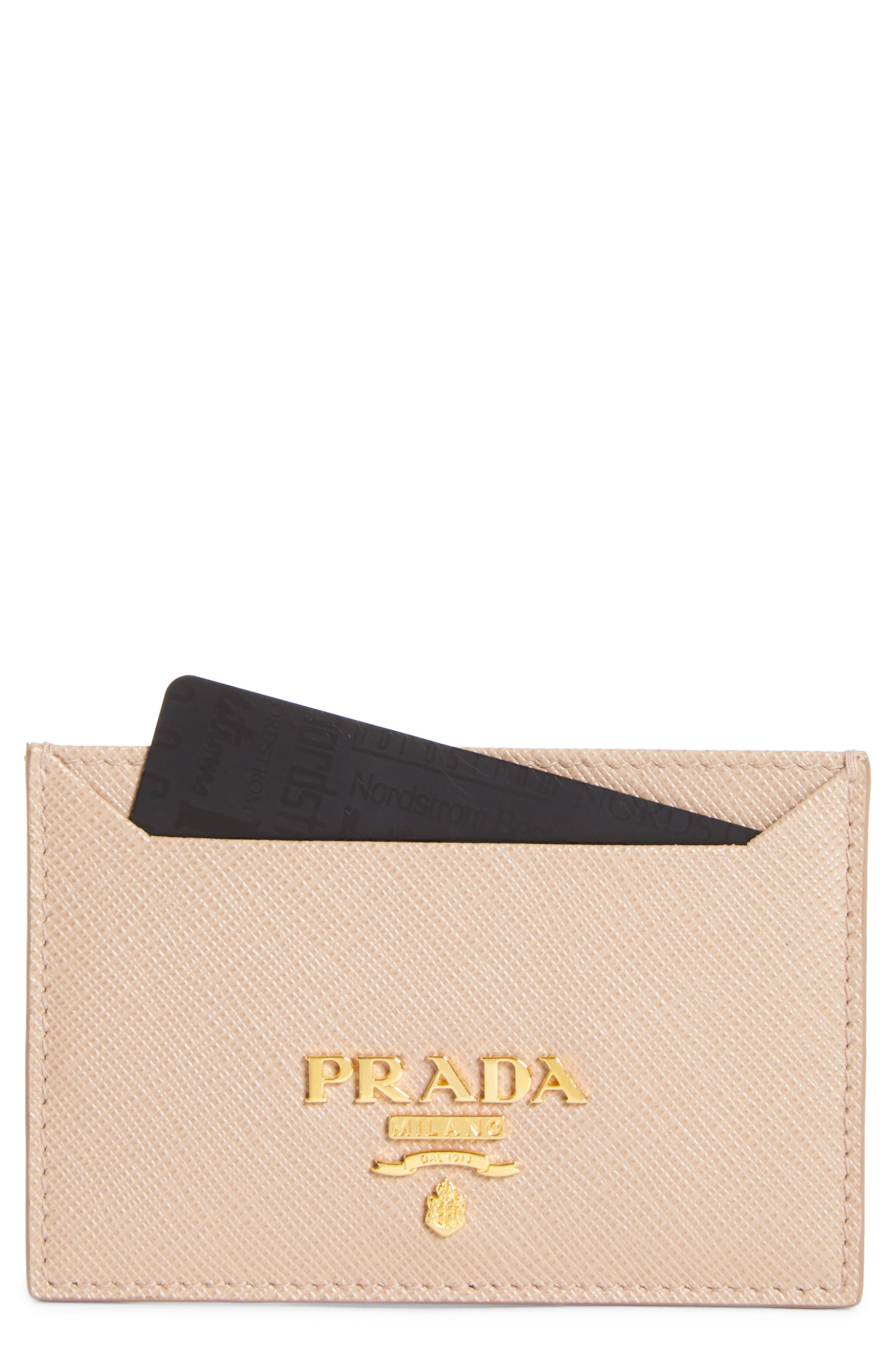 Saffiano Metal Oro Calfskin Leather Card Case,                             Main thumbnail 1, color,                             Cipria