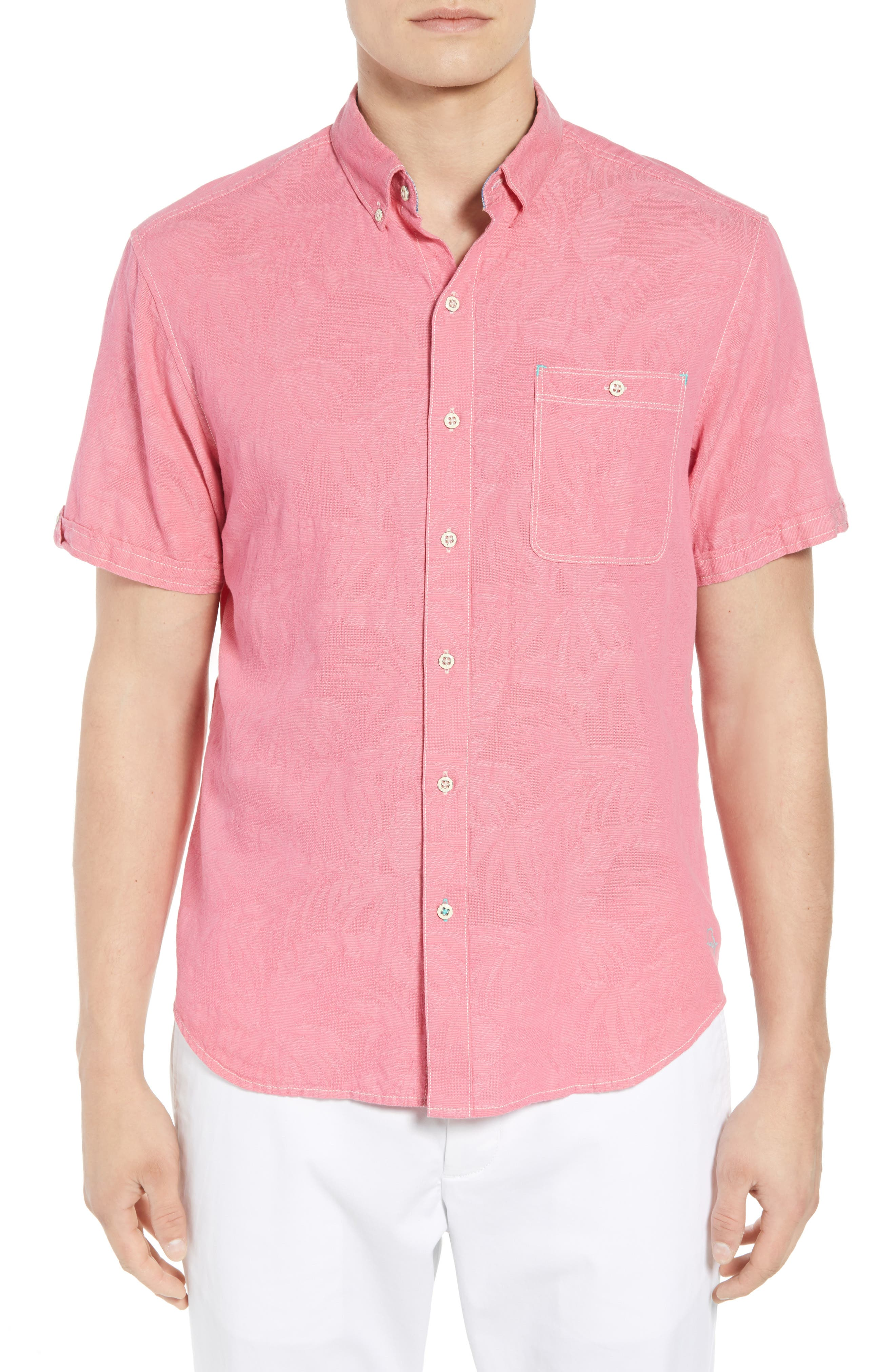 Desert Fronds Sport Shirt,                             Main thumbnail 1, color,                             Bright Rose
