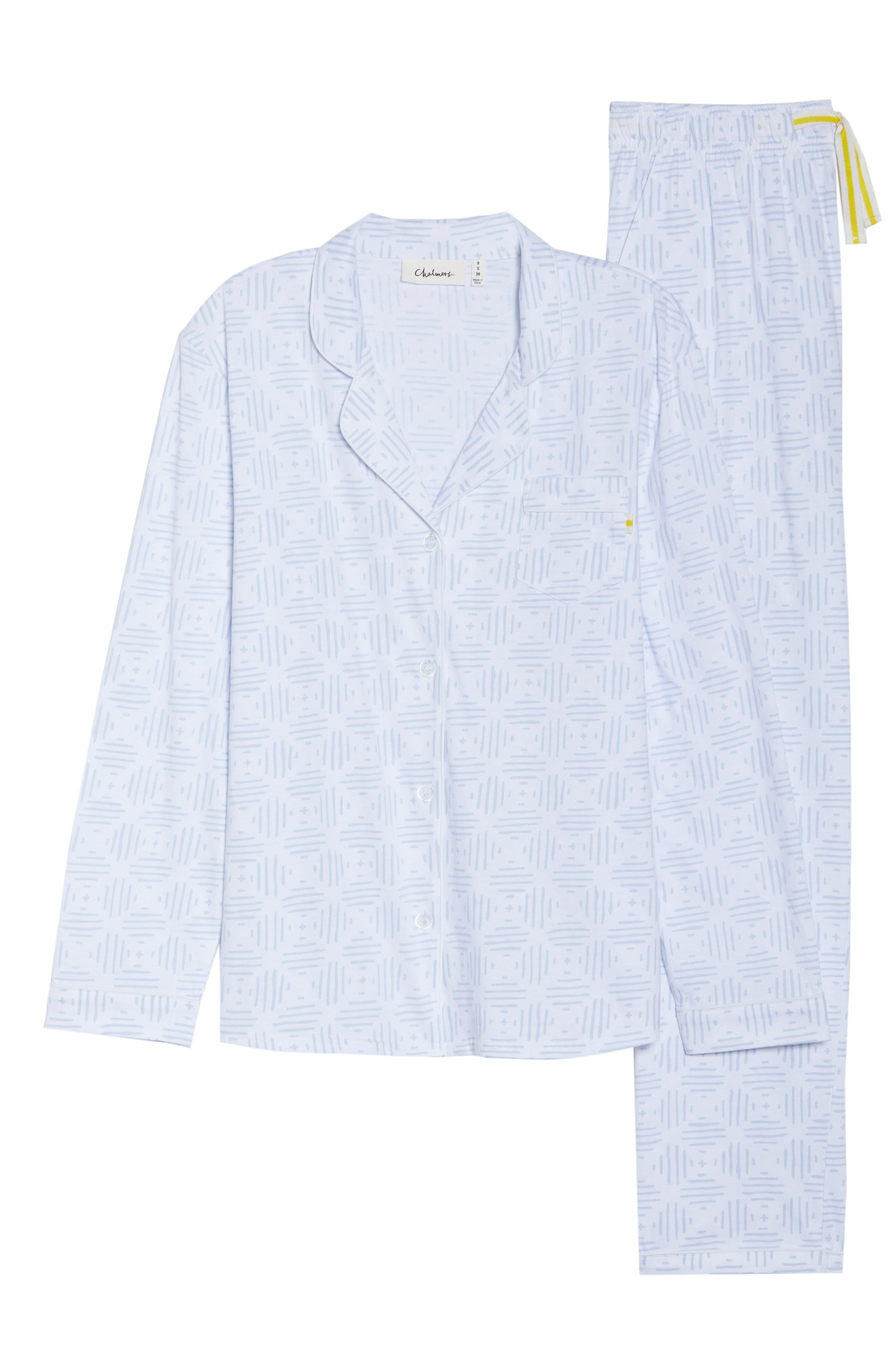 Moroccan Tile Pajamas,                             Alternate thumbnail 4, color,                             Moro Tile Blue