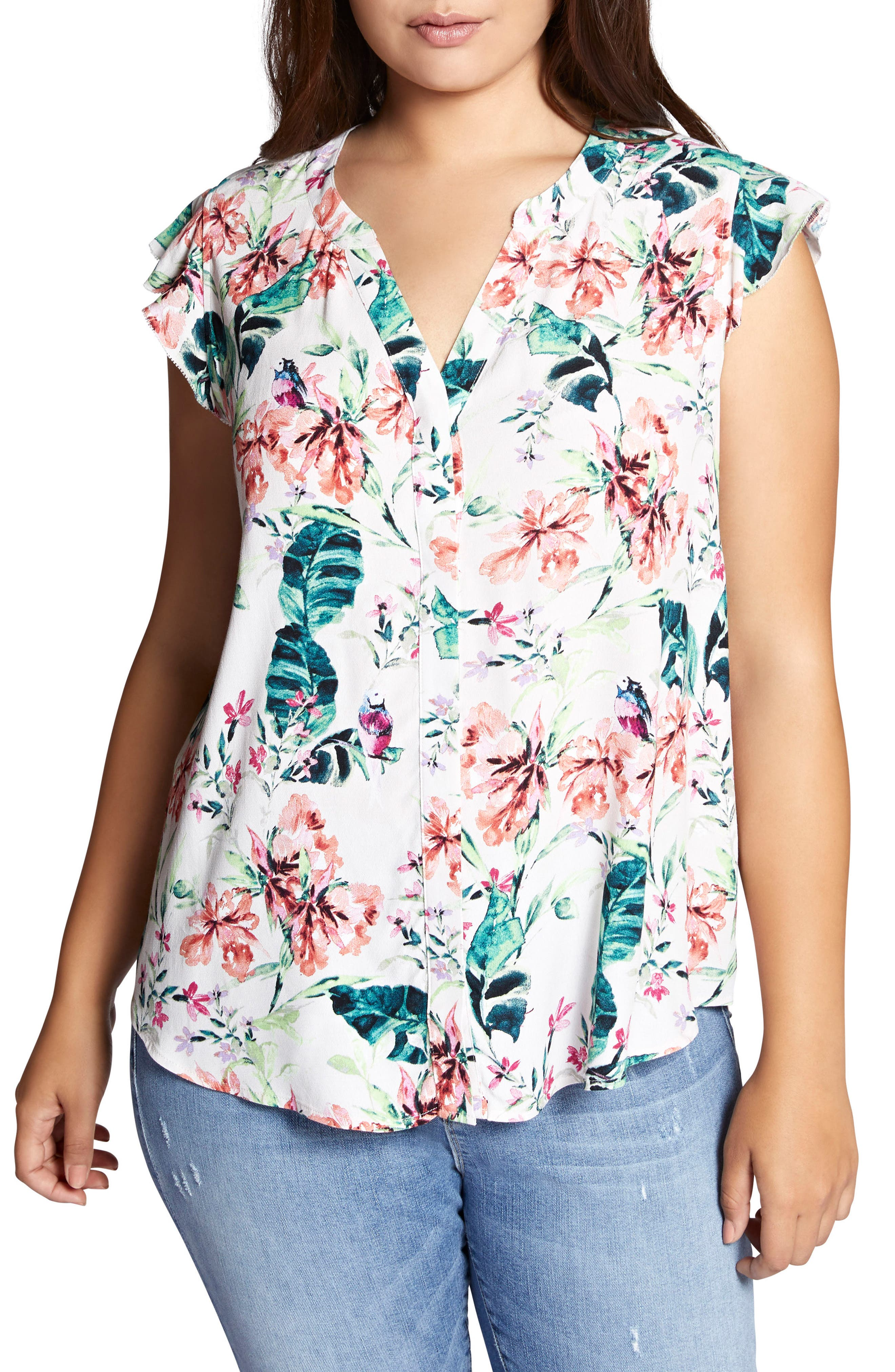 Floral Print Ruffle Top,                         Main,                         color, In Paradise