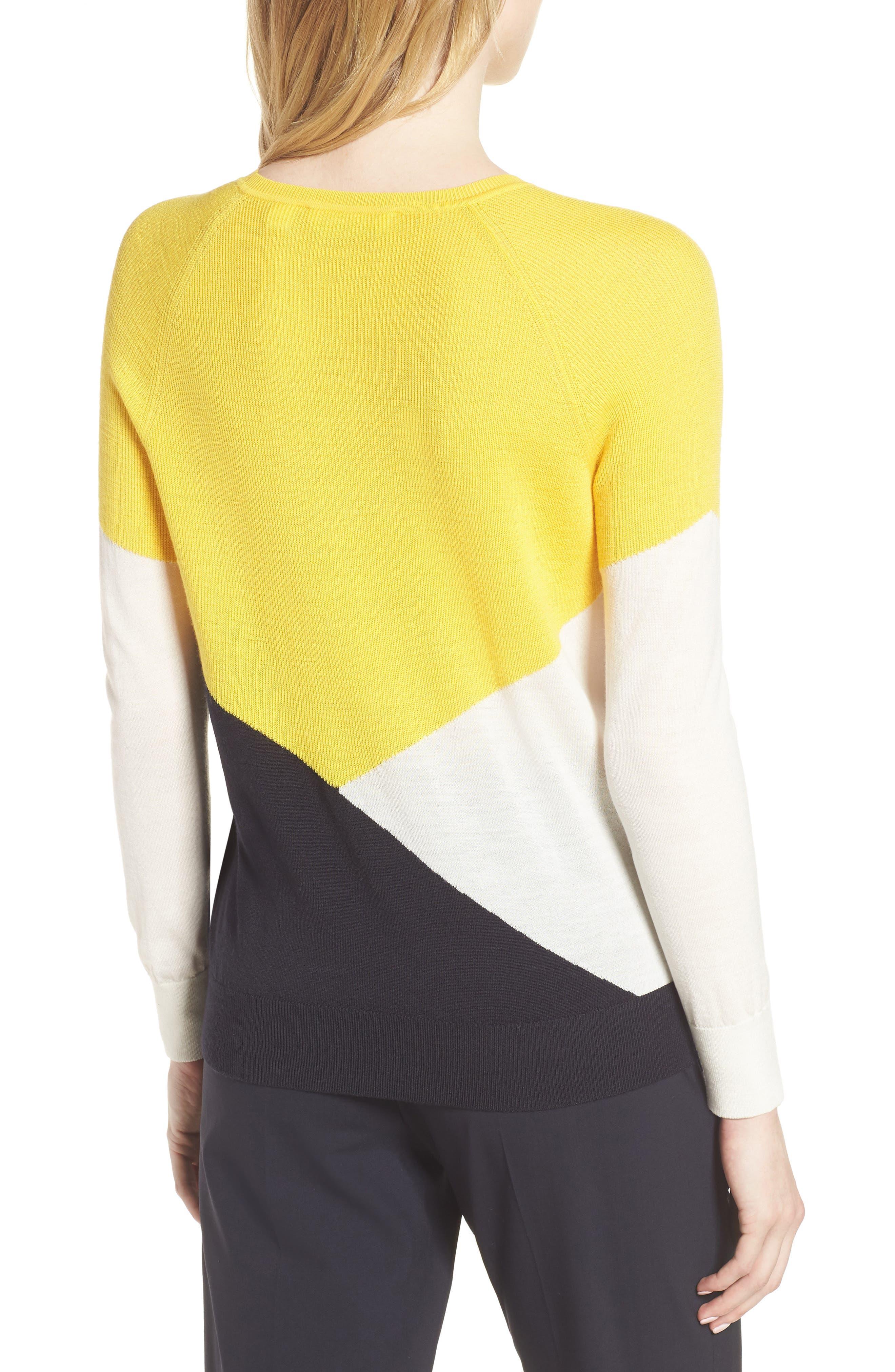 Farrow Colorblock Wool Sweater,                             Alternate thumbnail 2, color,                             Sun Yellow Fantasy