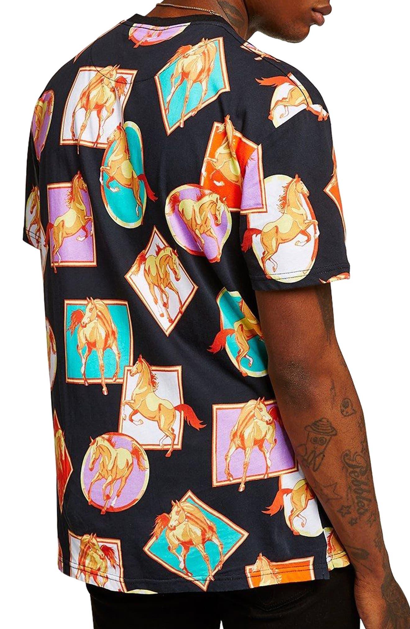 Oversize Horse Print T-Shirt,                             Alternate thumbnail 2, color,                             Black Multi