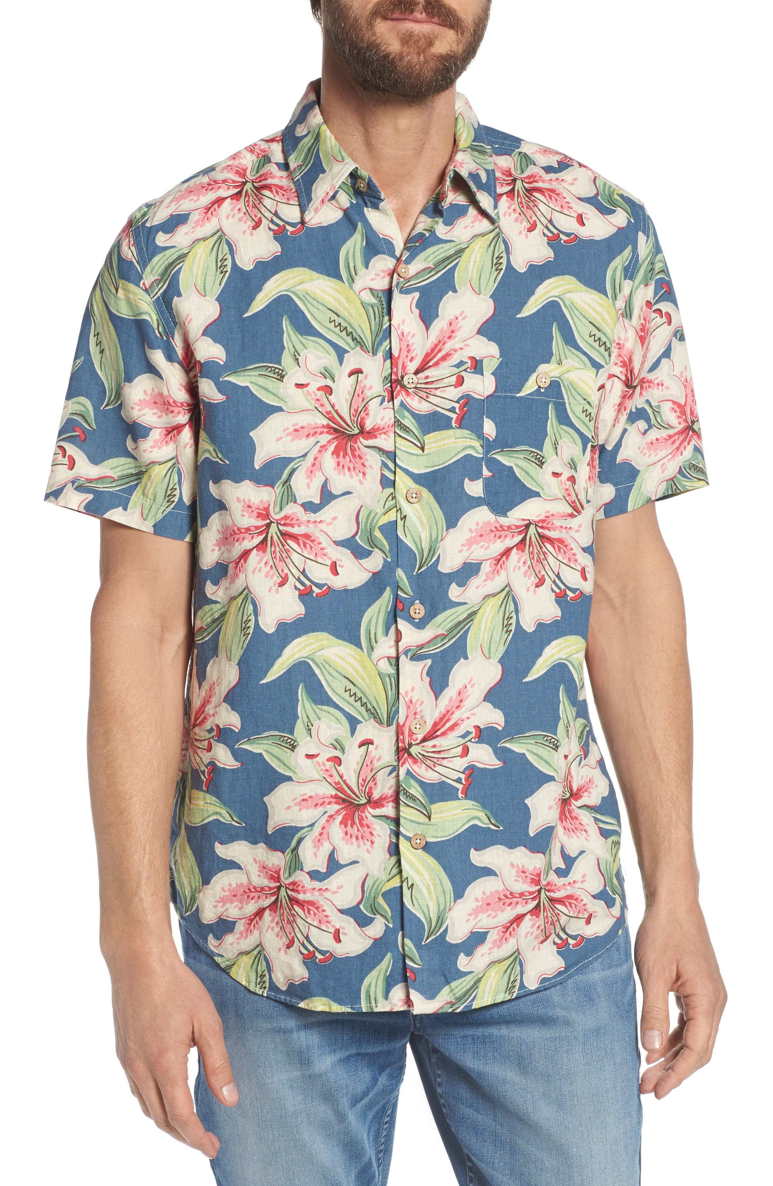 Tropical Atoll Sport Shirt,                             Main thumbnail 1, color,                             Hibiscus Hawaiian