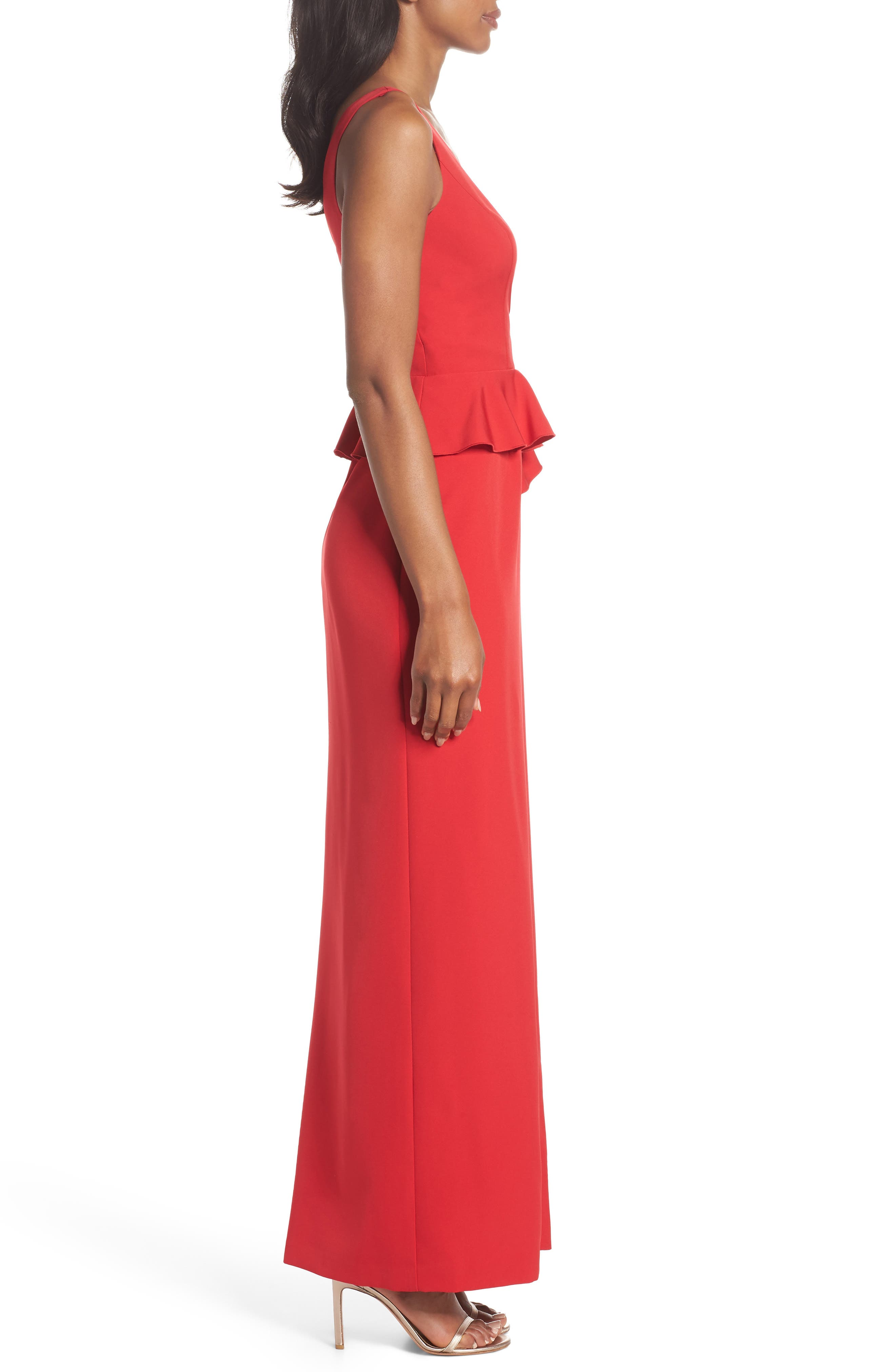 Laguna Faux Wrap Gown,                             Alternate thumbnail 3, color,                             Red
