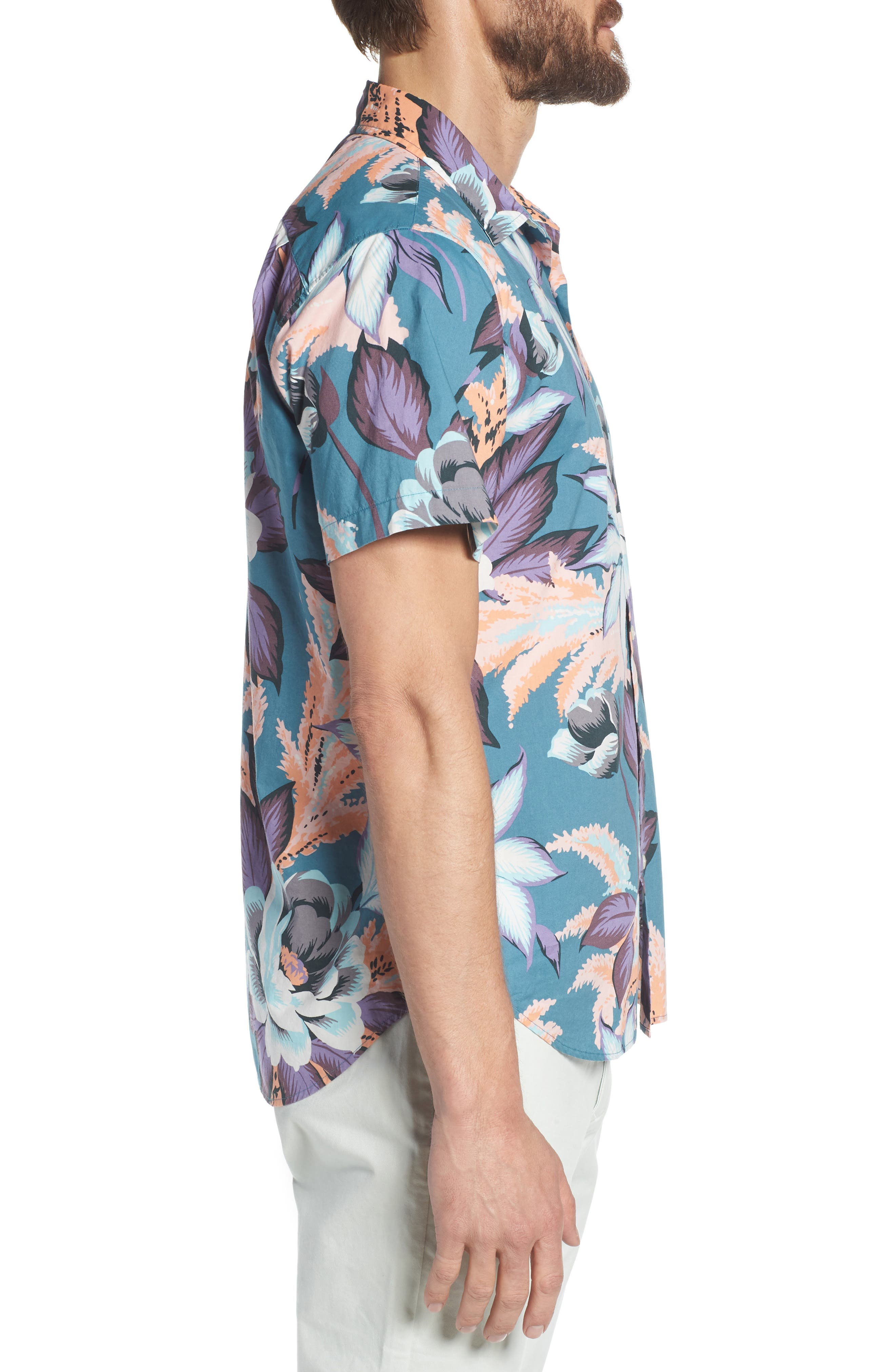 Riviera Slim Fit Floral Print Sport Shirt,                             Alternate thumbnail 4, color,                             Coral Couch Floral - Blue