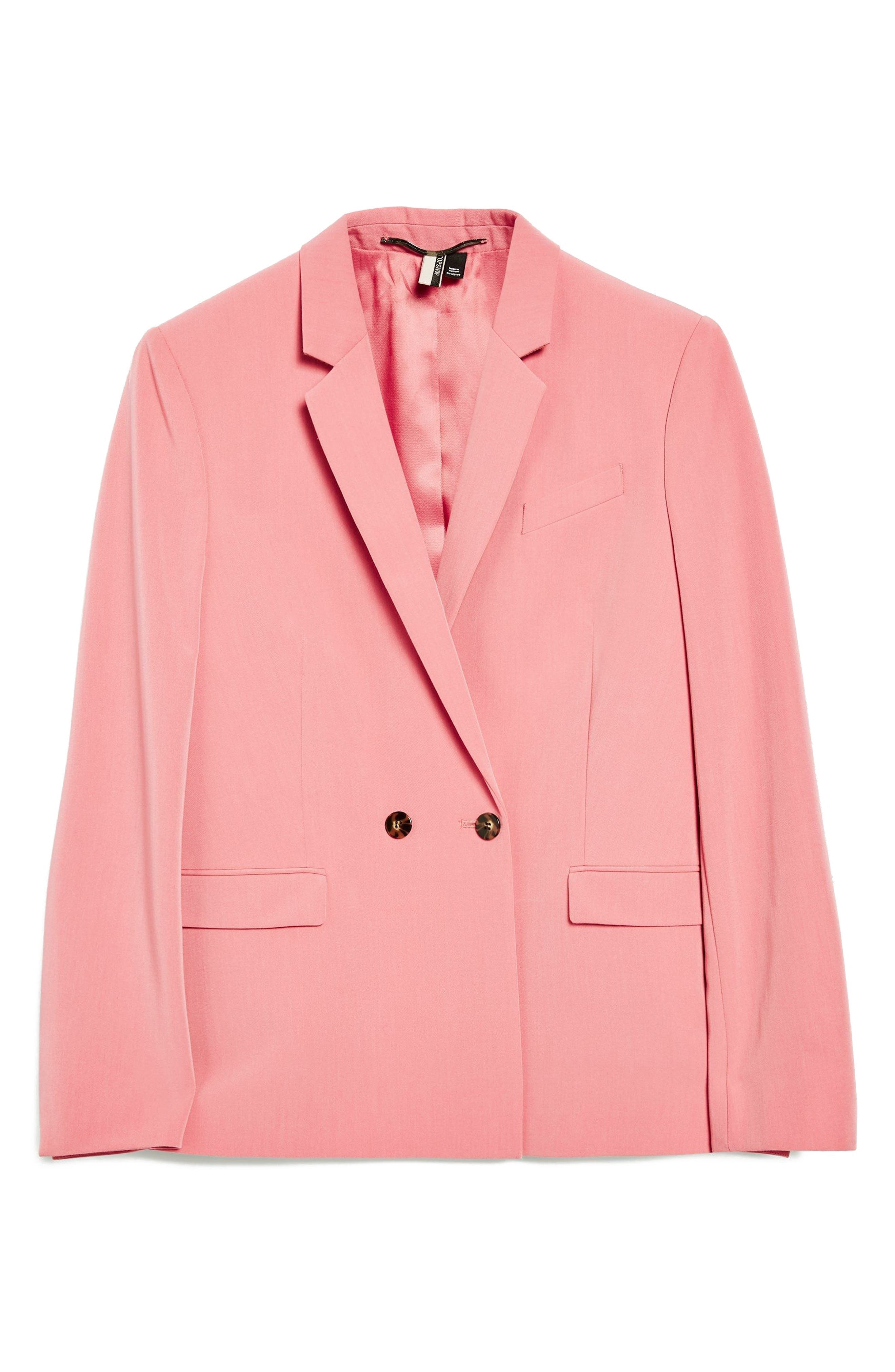 Longline Double Breasted Button Suit Jacket,                             Alternate thumbnail 3, color,                             Pink