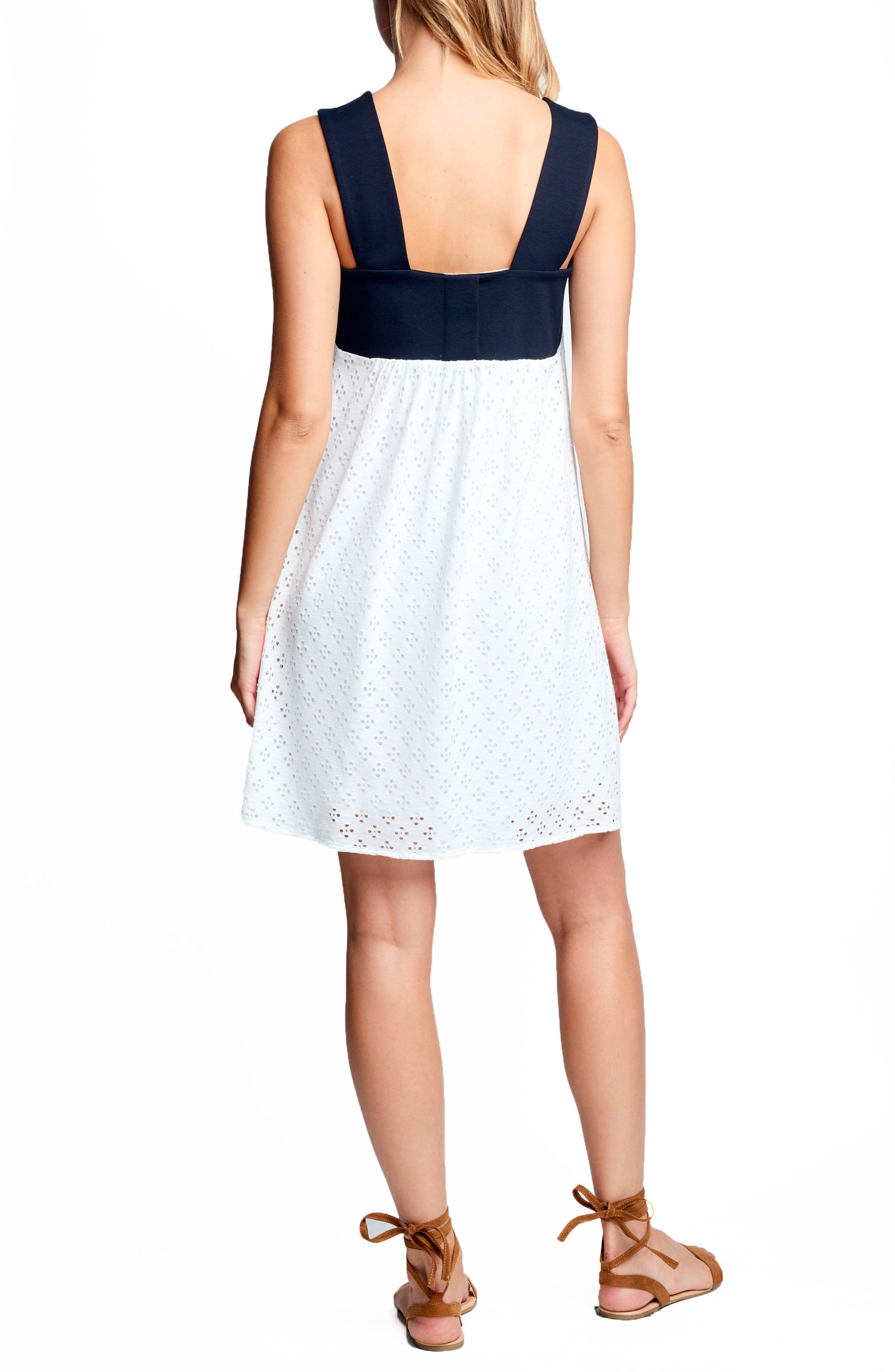 Babydoll Maternity Dress,                             Alternate thumbnail 2, color,                             White Eyelet/ Black