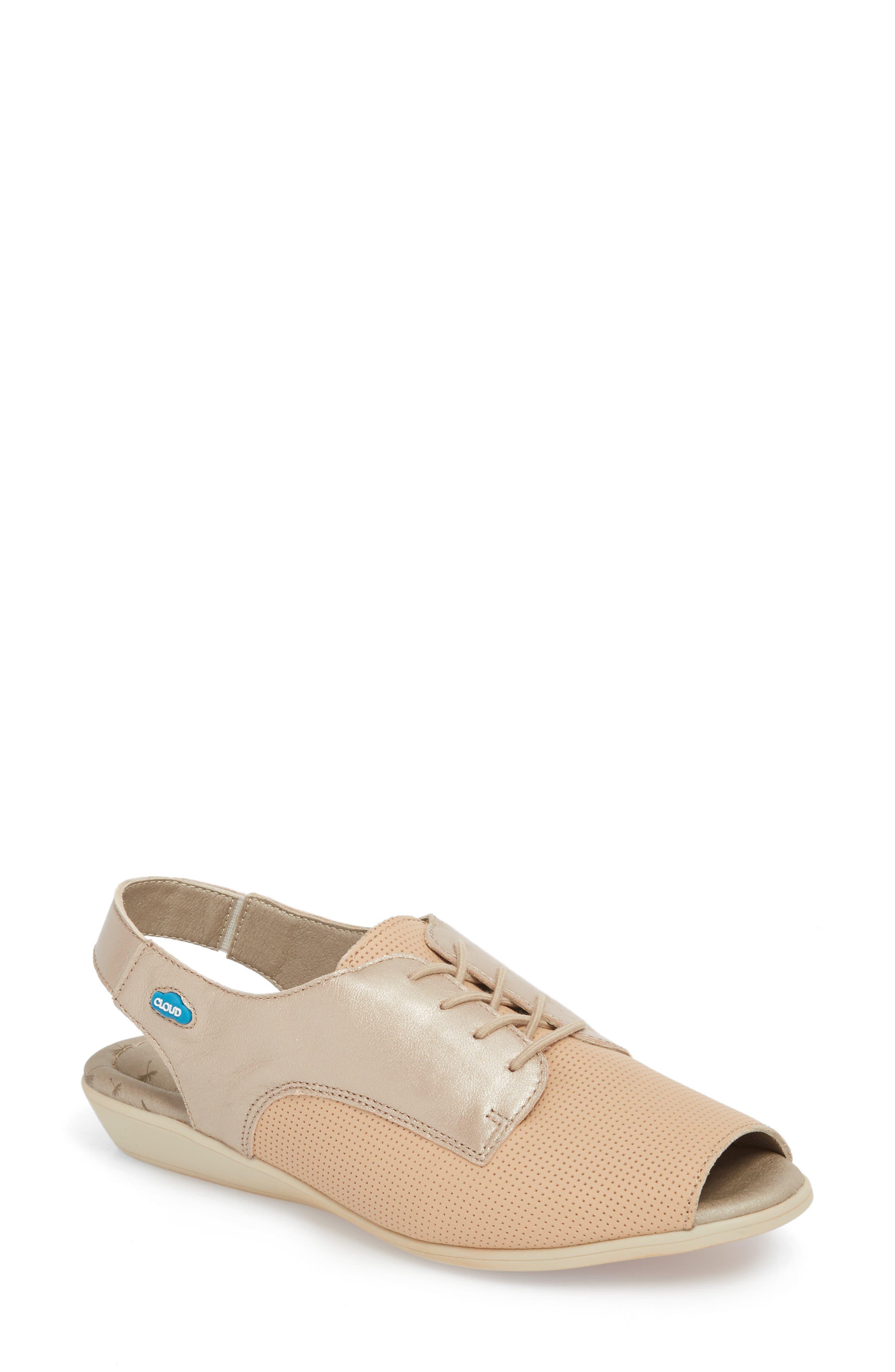 Cleone Slingback Sandal,                             Main thumbnail 1, color,                             Puima Sabbia Leather