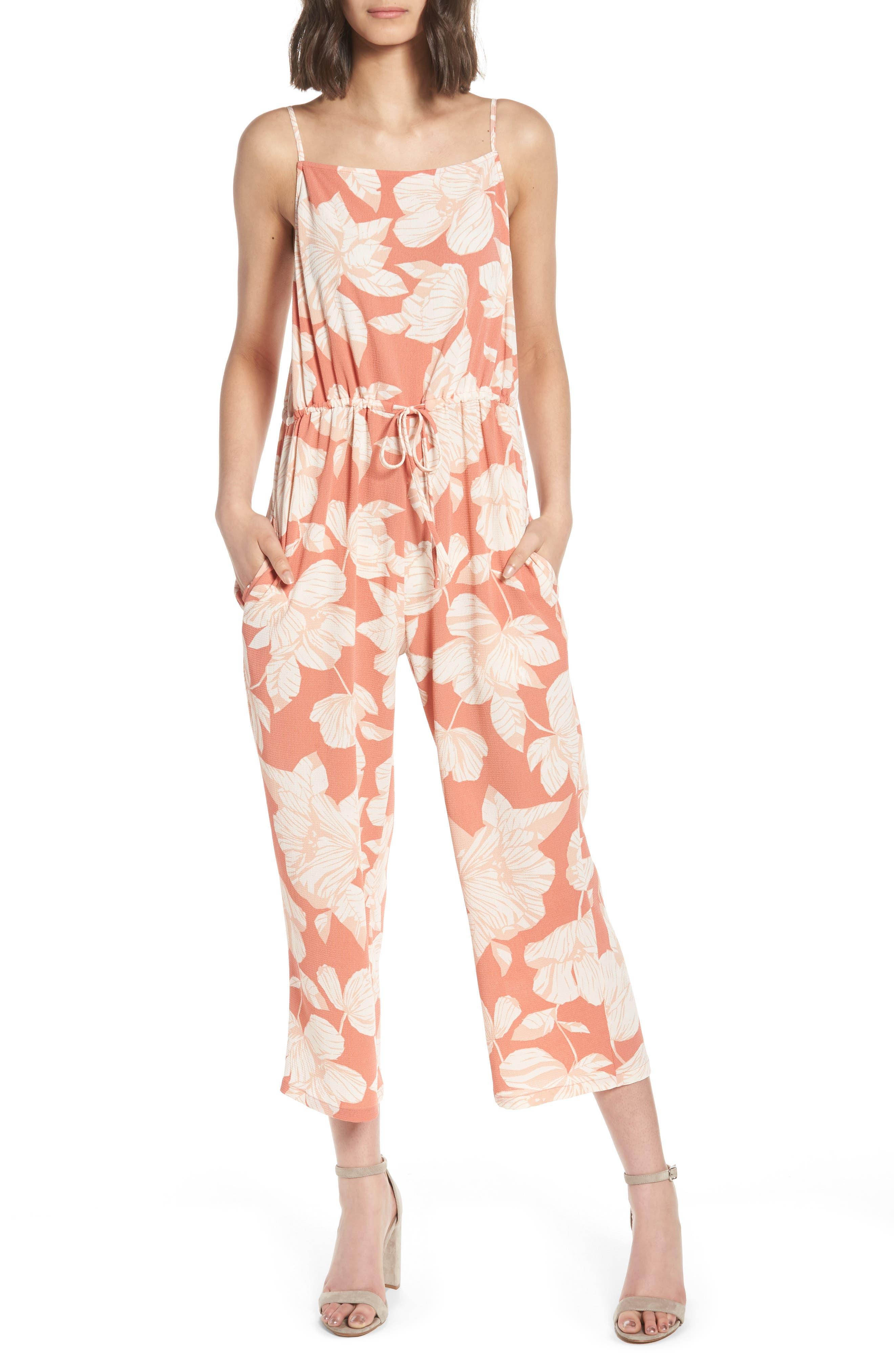 Tie Waist Jumpsuit,                         Main,                         color, Peach