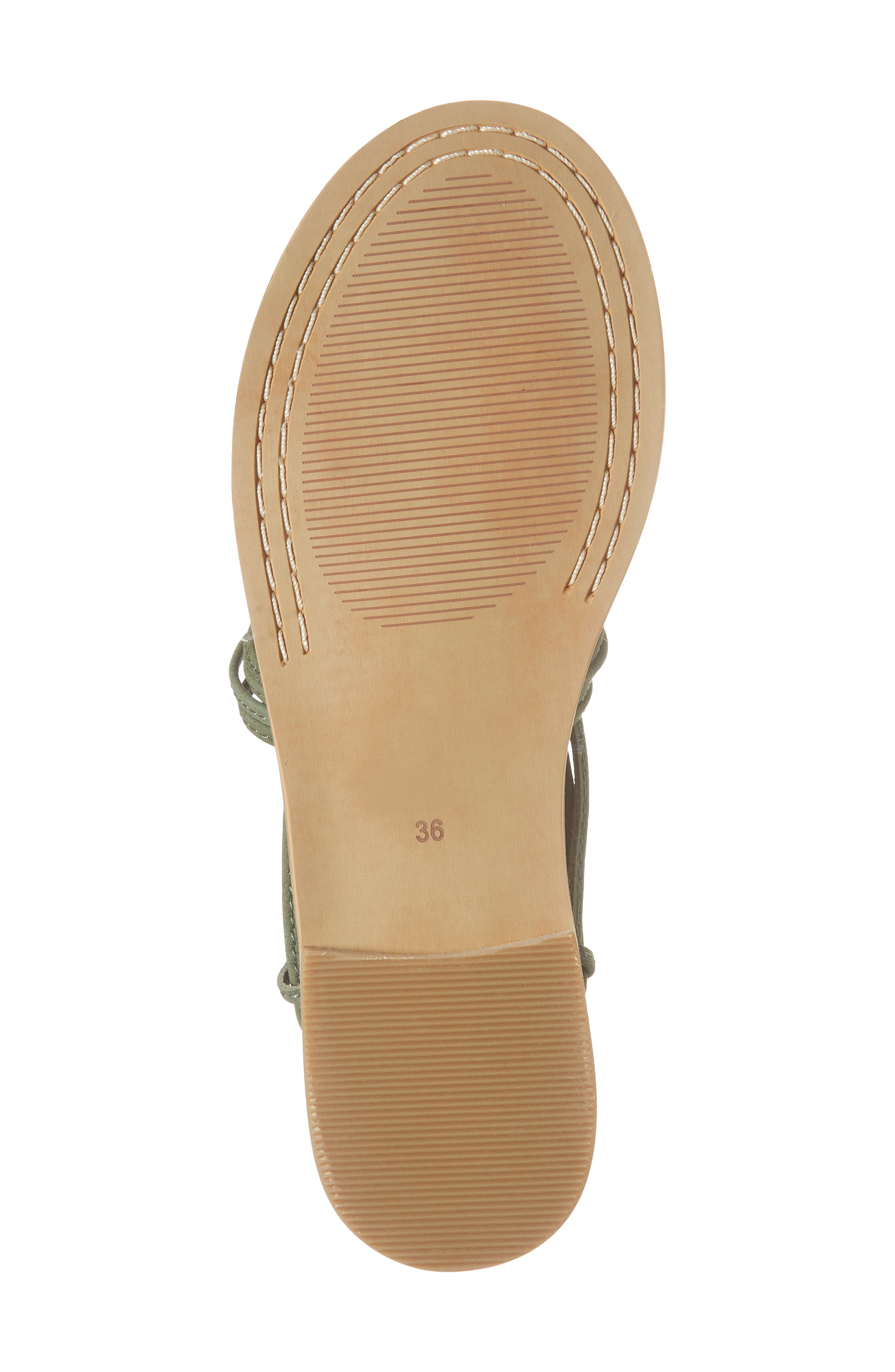 Theory Strappy Flat Sandal,                             Alternate thumbnail 6, color,                             Khaki Leather