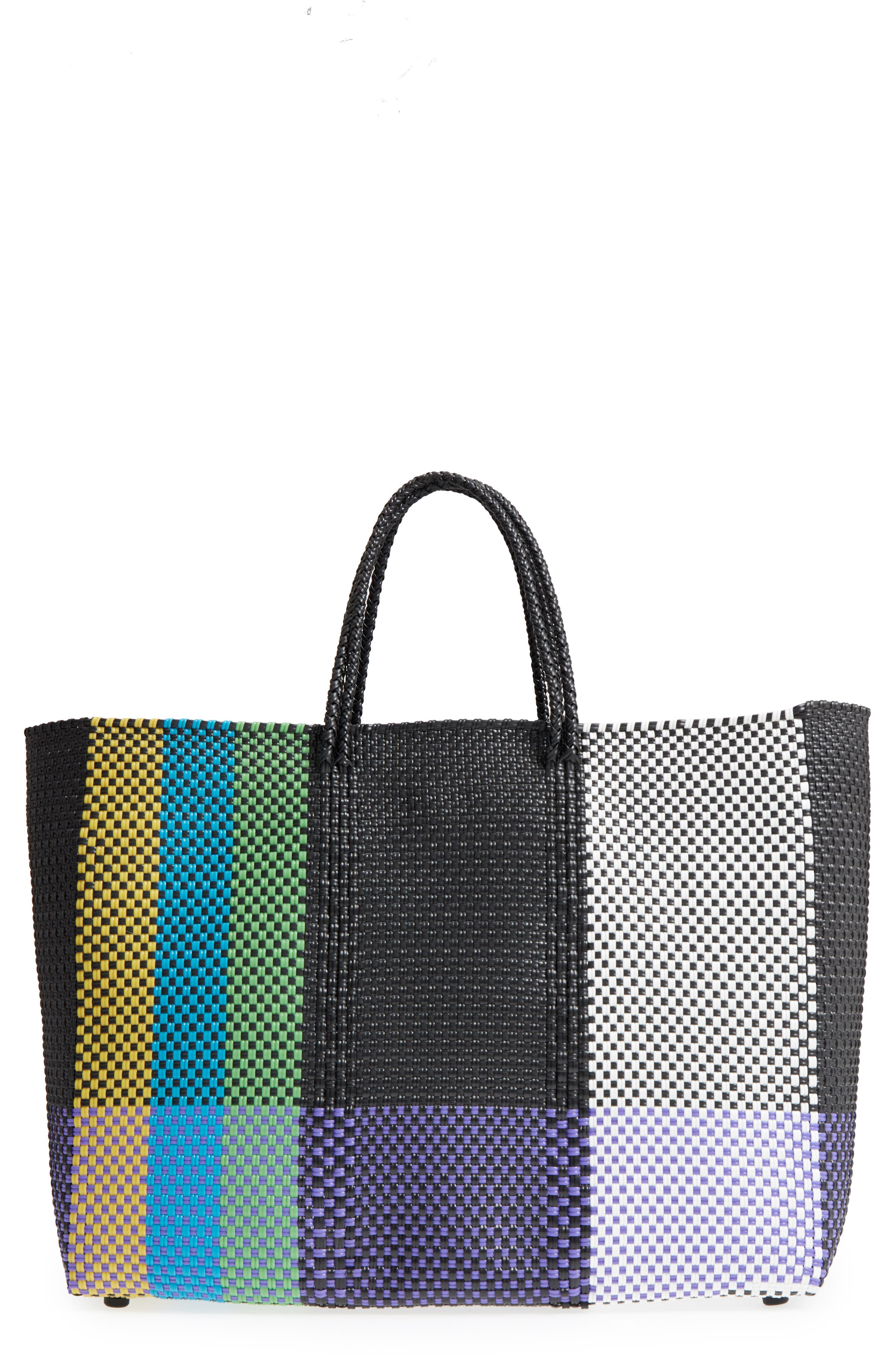 Large Woven Tote,                         Main,                         color, Green/ Yellow