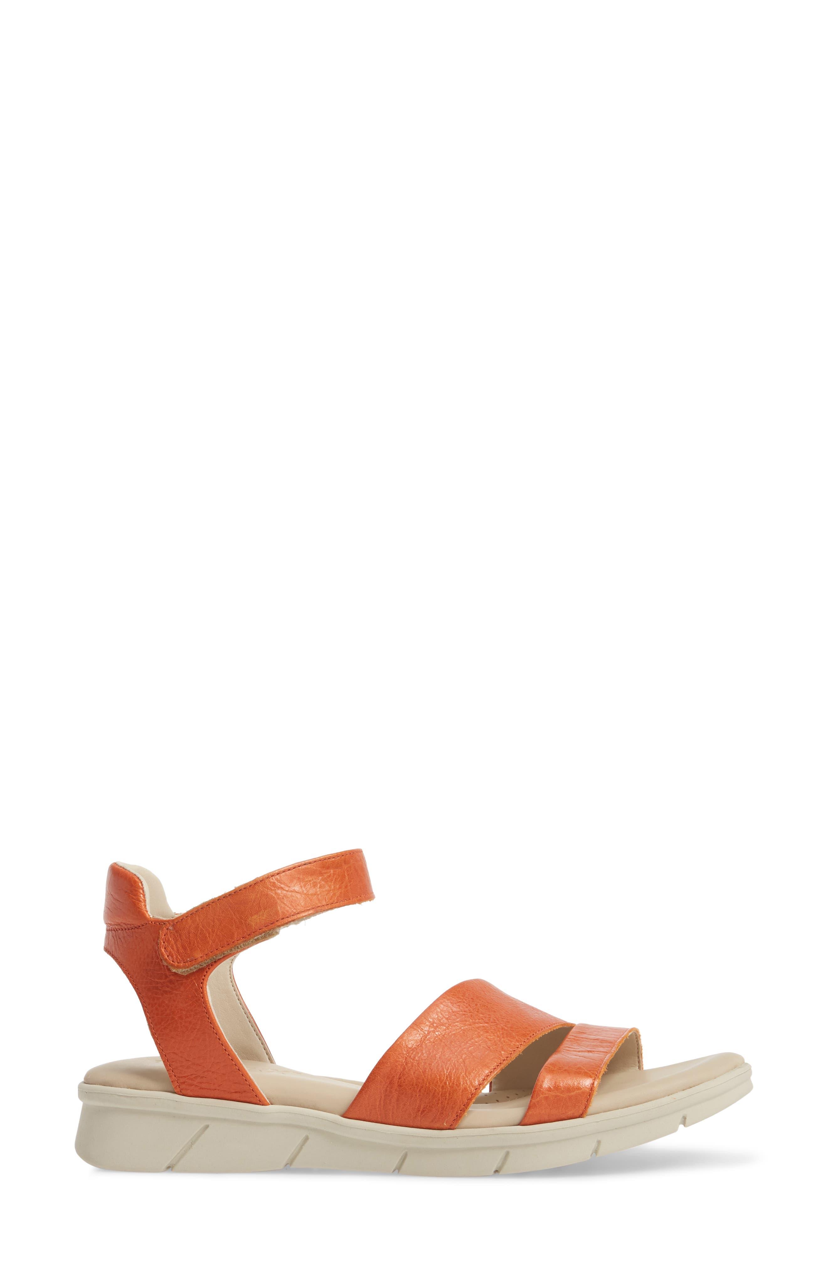 Crossover Ankle Strap Sandal,                             Alternate thumbnail 3, color,                             Mandarin Leather