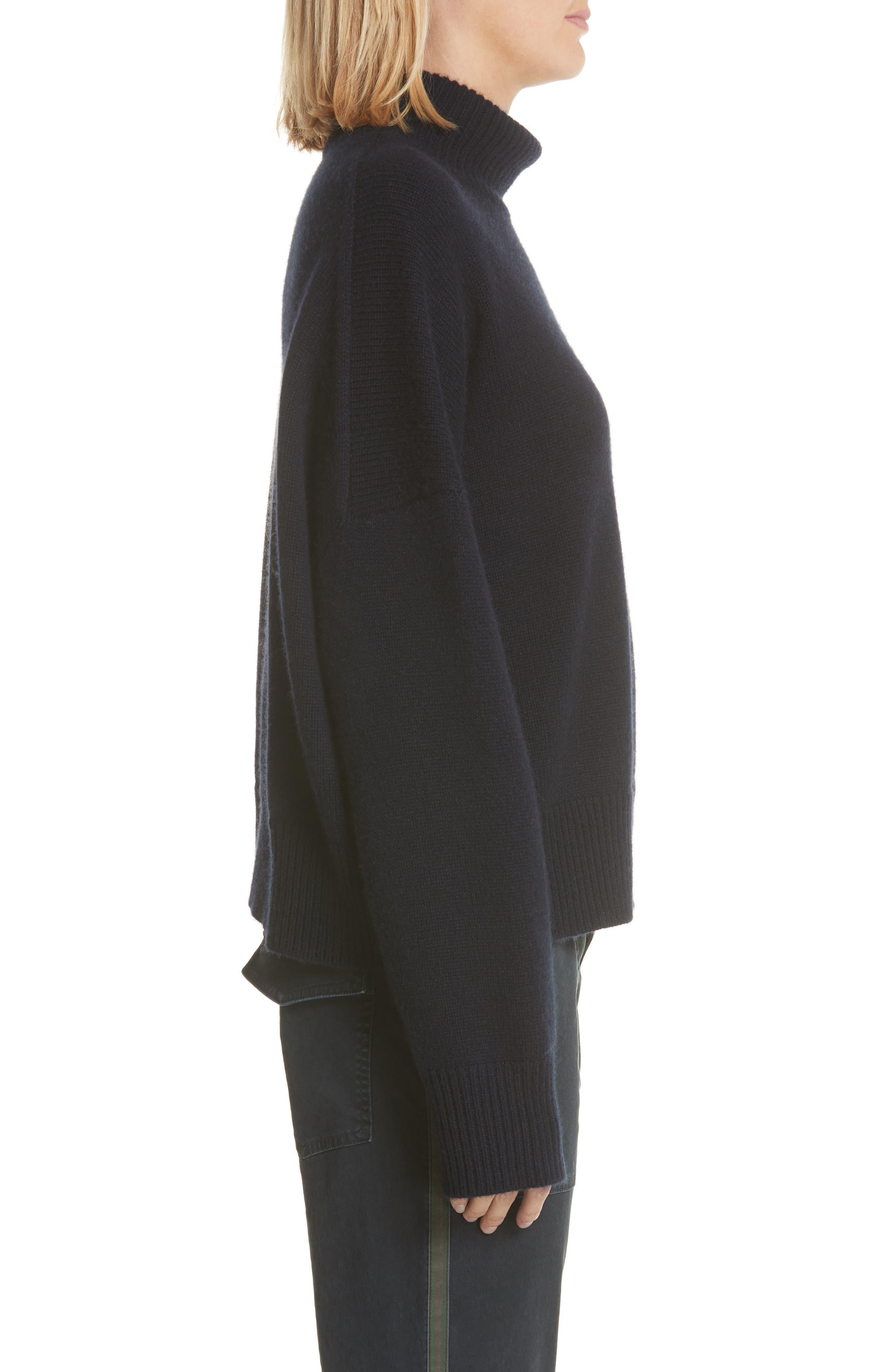 Serinda Wool & Cashmere Turtleneck Sweater,                             Alternate thumbnail 3, color,                             Dark Navy