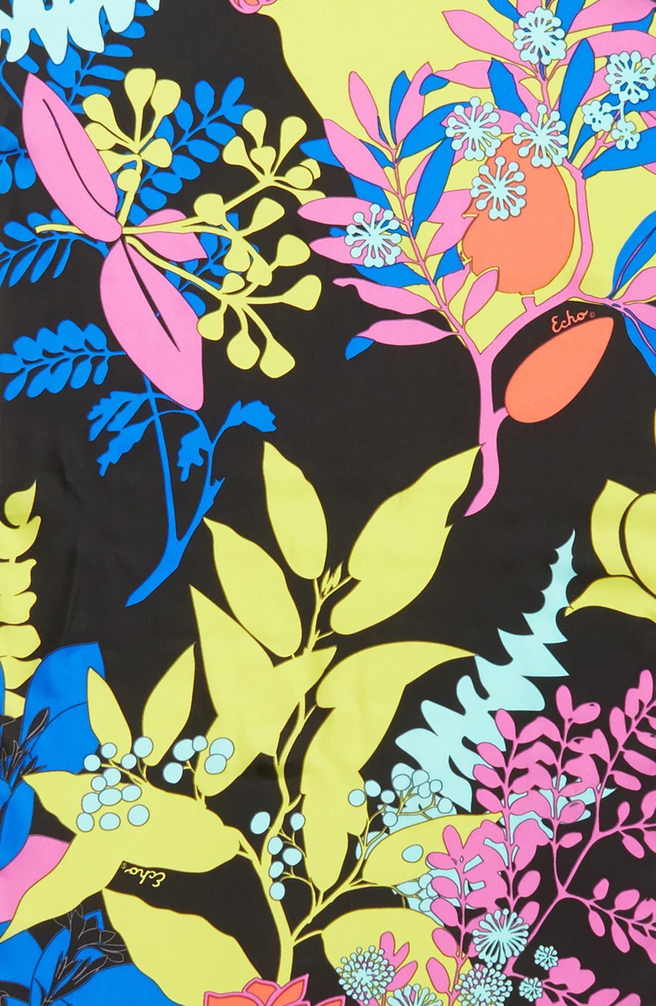 Alonnah Floral Silk Scarf,                             Alternate thumbnail 4, color,                             Black