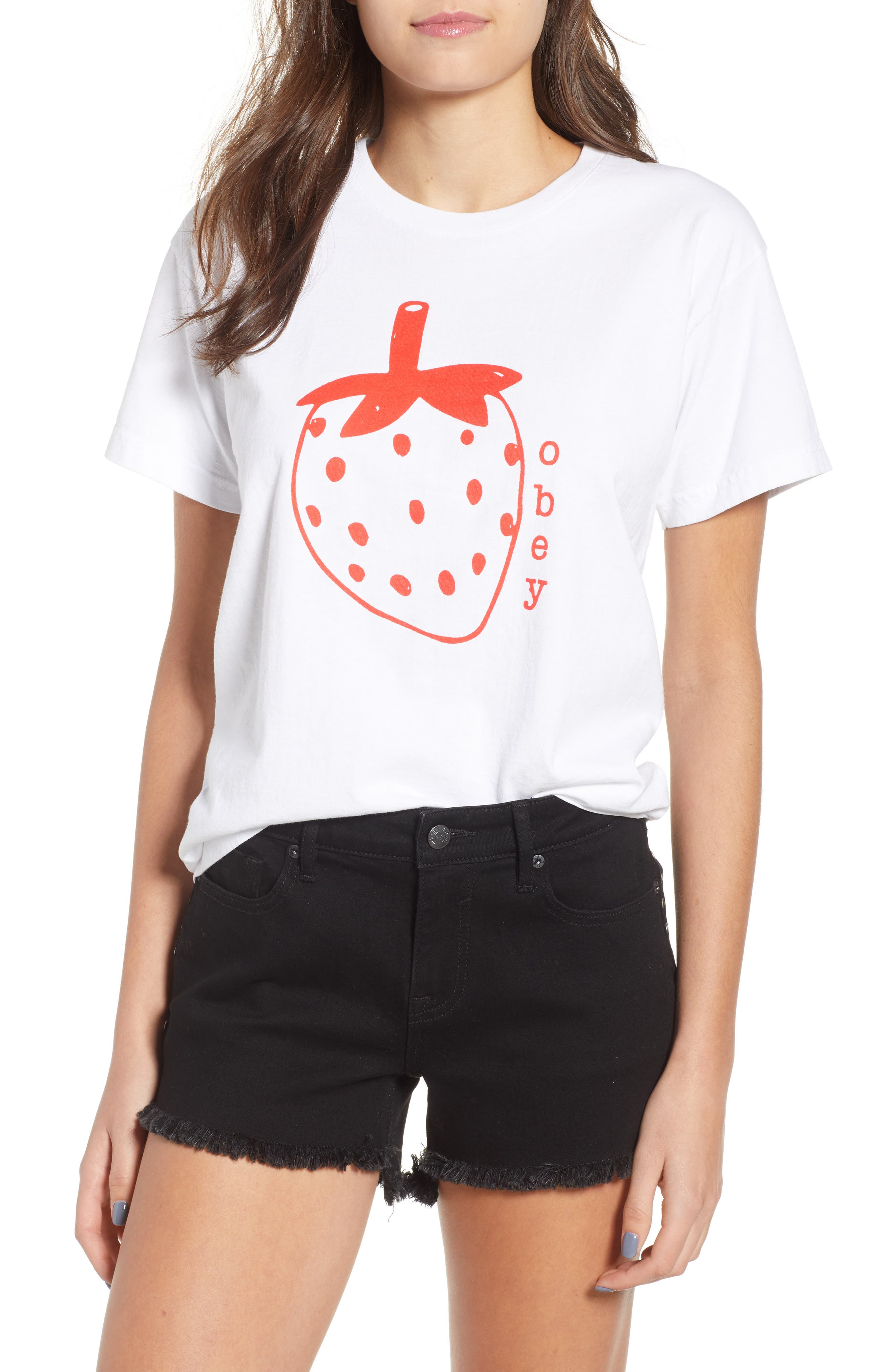 Lo-Fi Strawberry Graphic Tee,                             Main thumbnail 1, color,                             White
