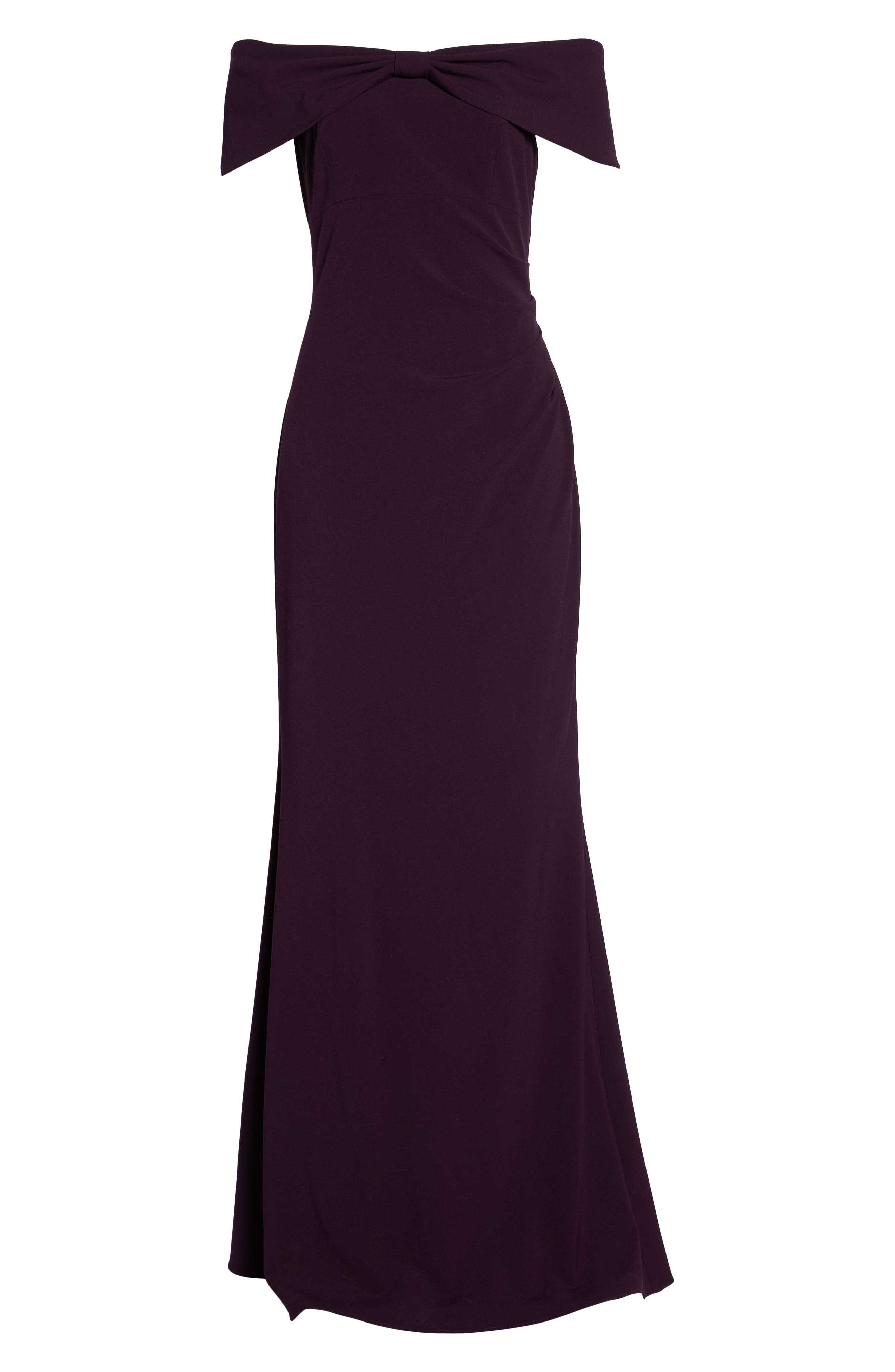 Knot Front Off the Shoulder Gown,                             Alternate thumbnail 6, color,                             Plum