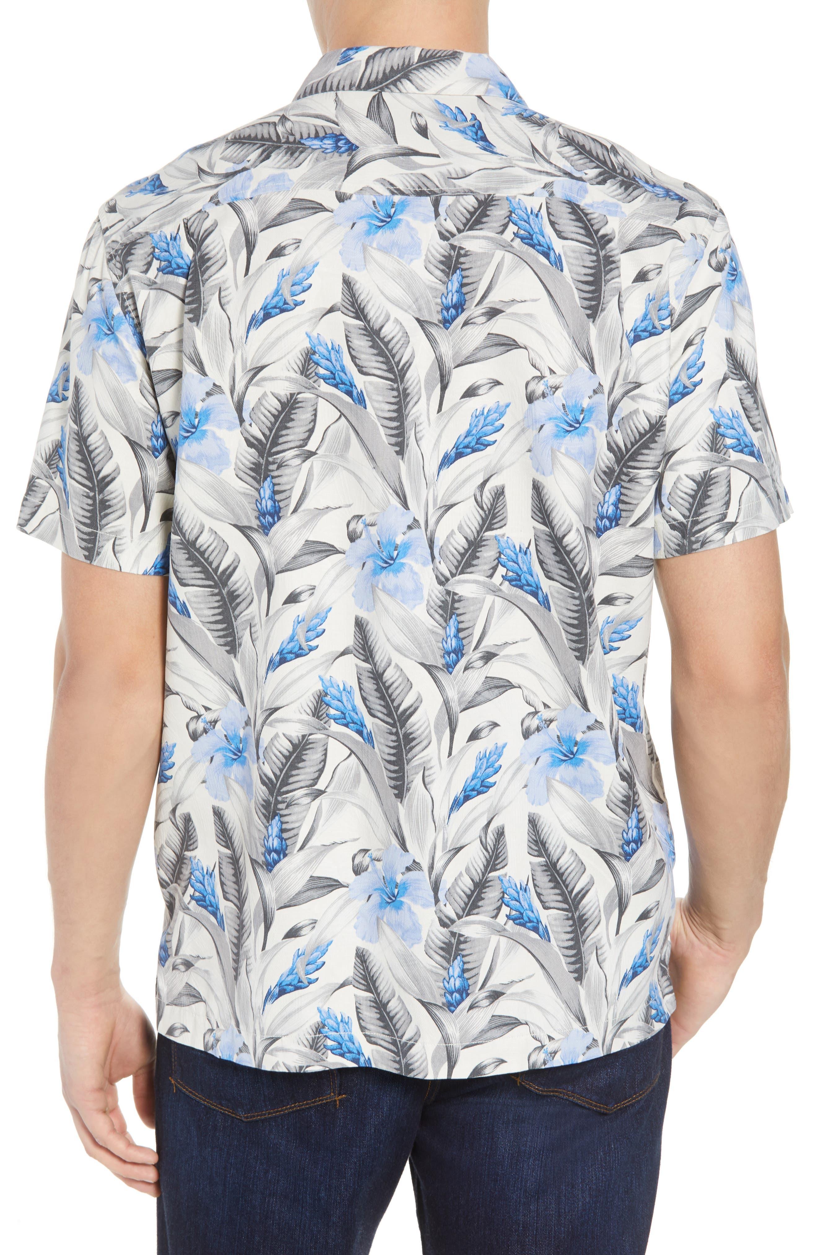 Tulum Bloom Silk Camp Shirt,                             Alternate thumbnail 3, color,                             Marble Cream