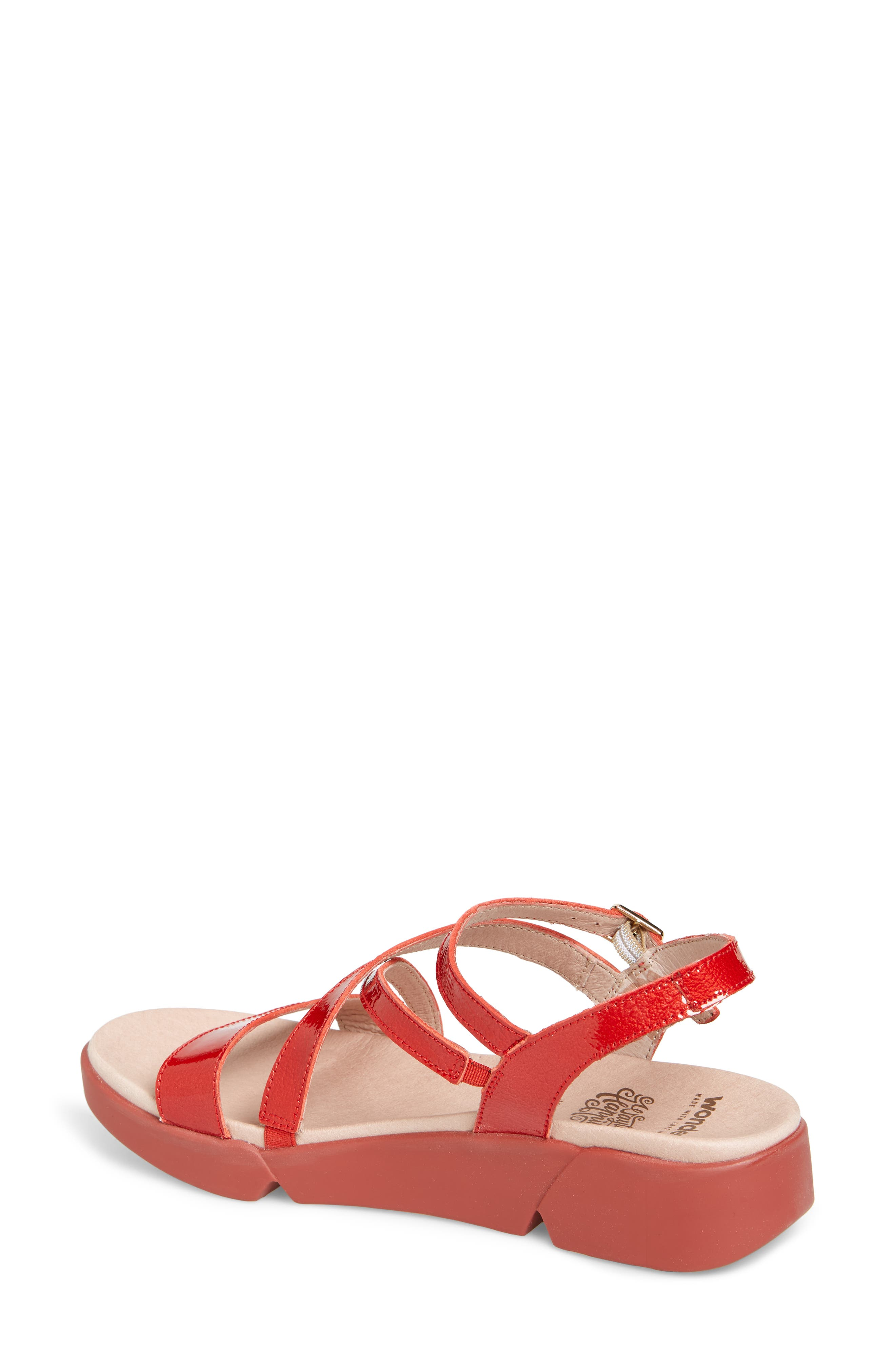 Wedge Sandal,                             Alternate thumbnail 2, color,                             Red Patent Leather