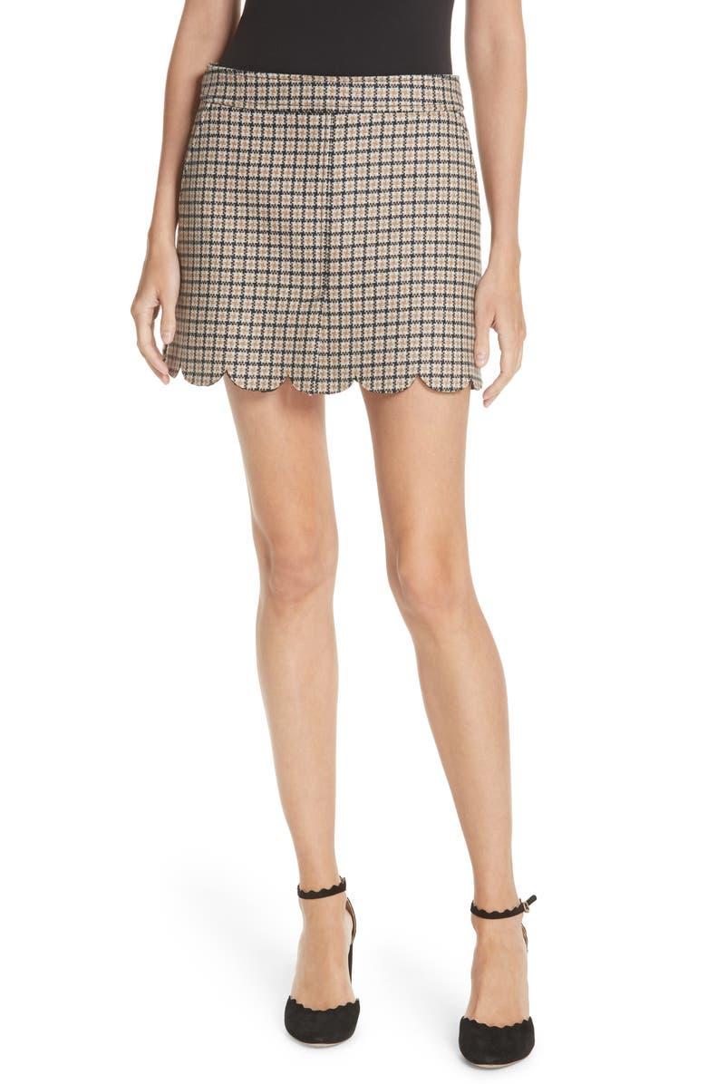 Plaid Scallop Hem Wool Blend Skirt