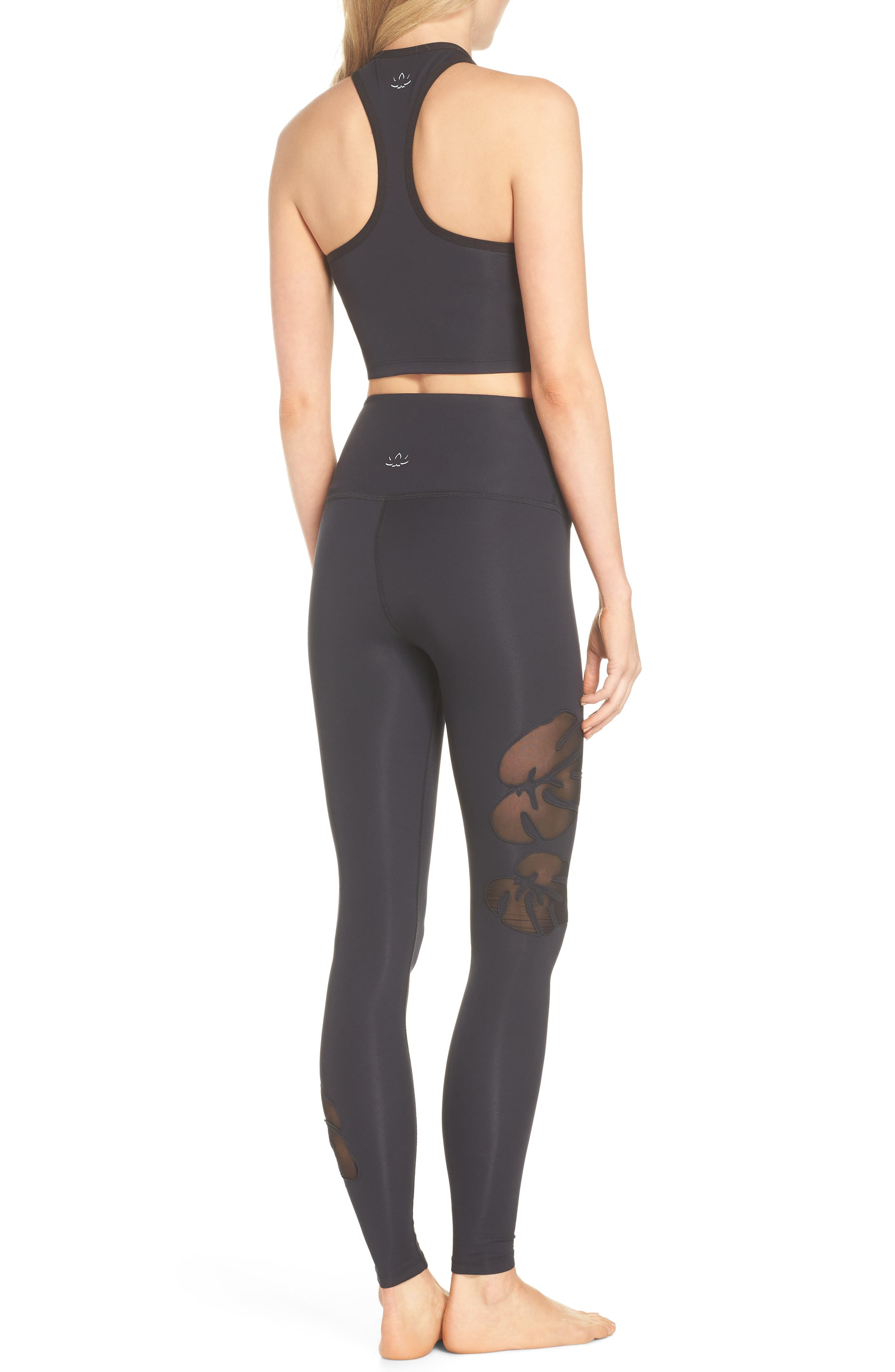 Take Leaf High Waist Leggings,                             Alternate thumbnail 3, color,                             Black