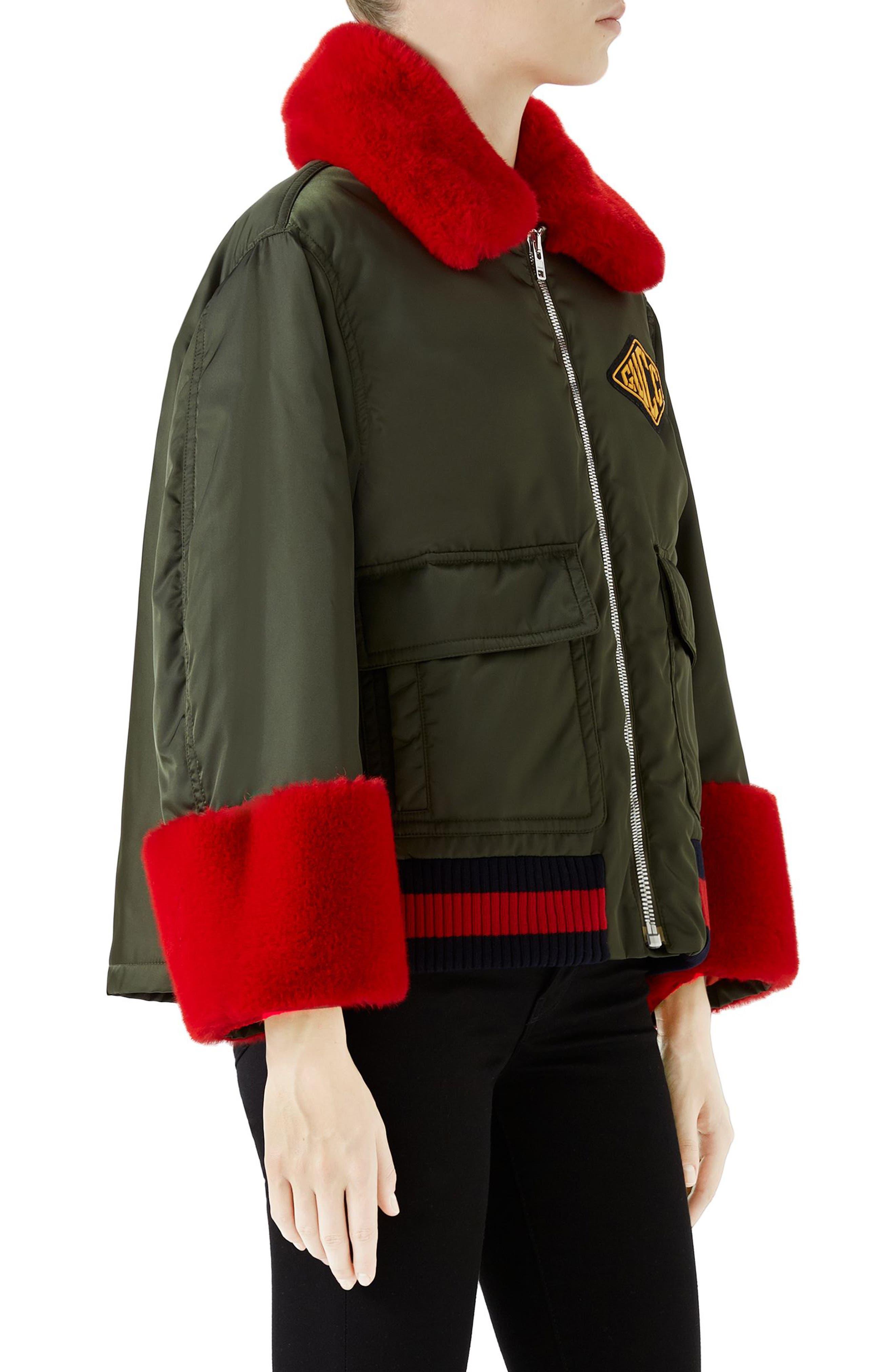 Faux Fur Trim Nylon Flight Jacket,                             Alternate thumbnail 3, color,                             Military Green/ Multi