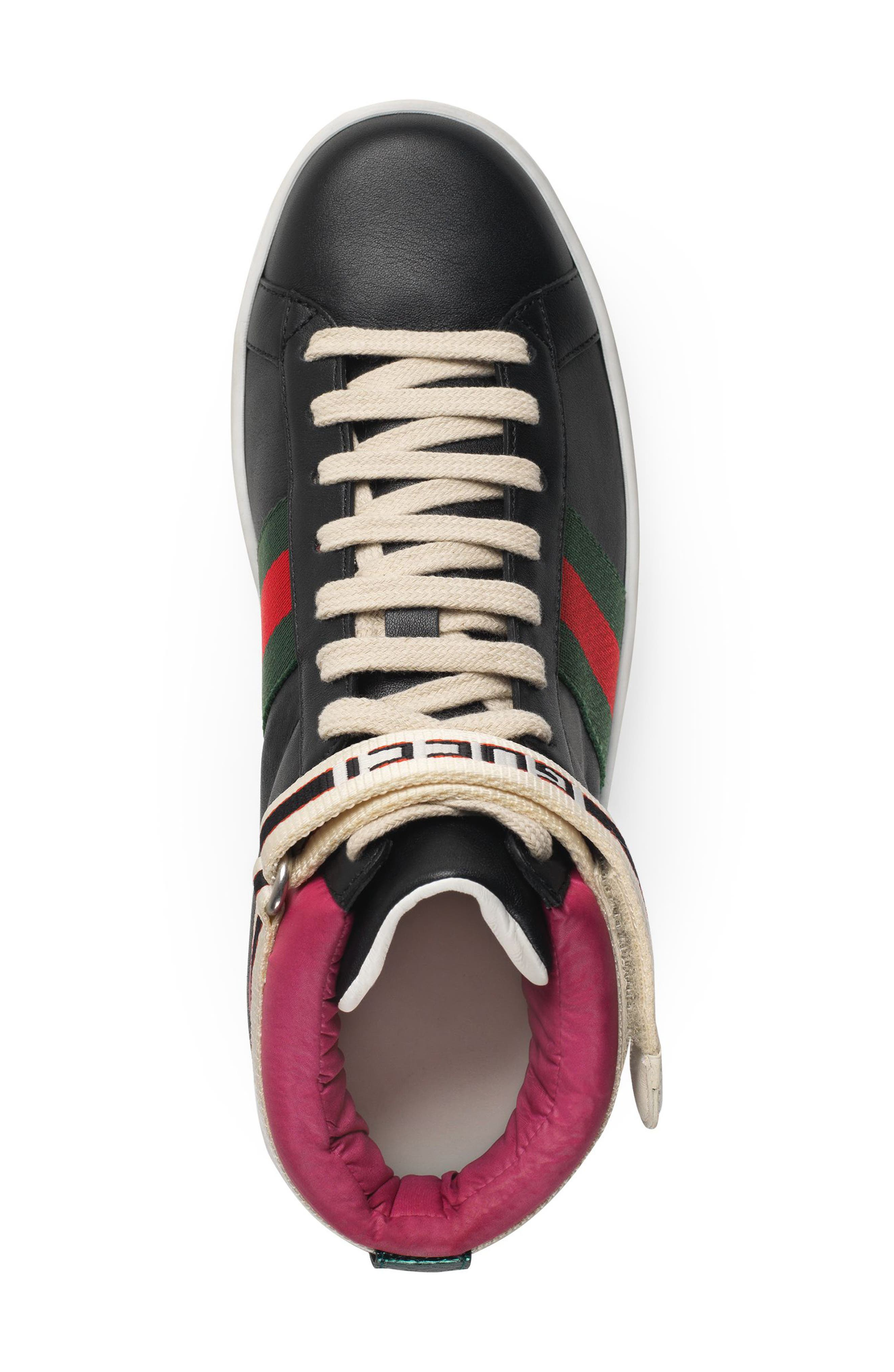 New Ace High Top Sneaker with Genuine Snakeskin Trim,                             Alternate thumbnail 3, color,                             Black