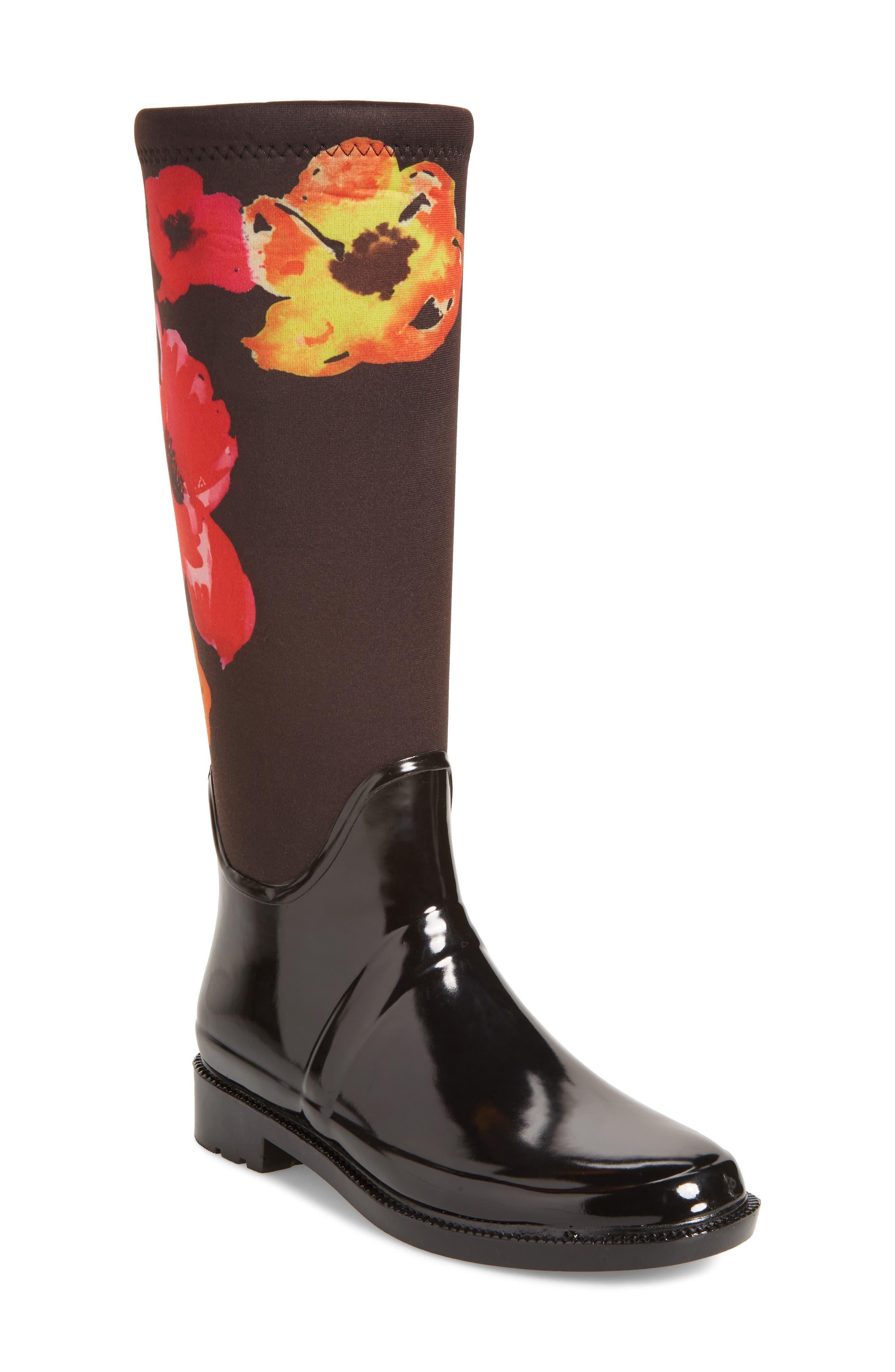 Talon Rain Boot,                             Main thumbnail 1, color,                             Black Floral Print