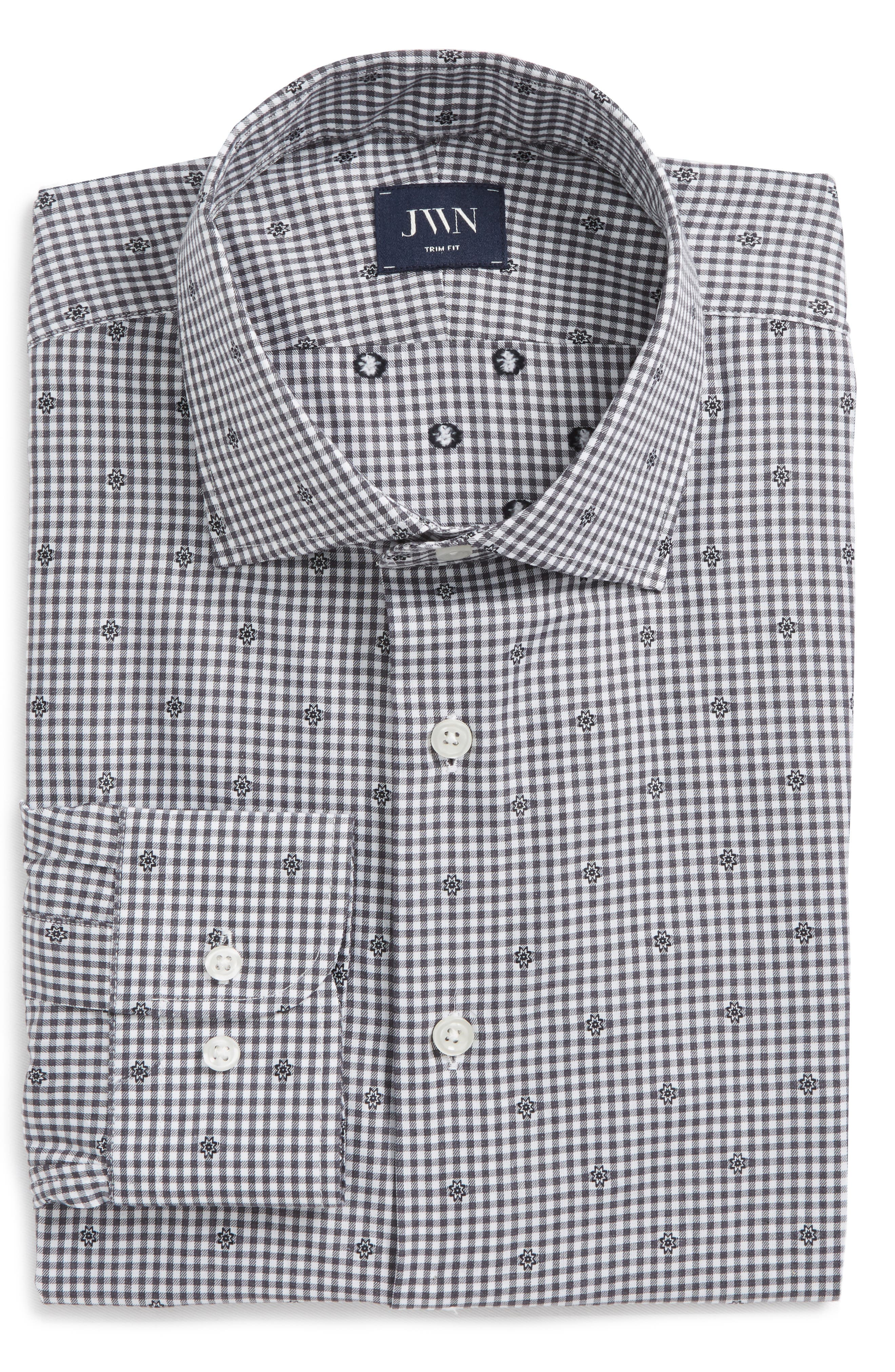 Trim Fit Check Dress Shirt,                             Alternate thumbnail 6, color,                             Grey Onyx