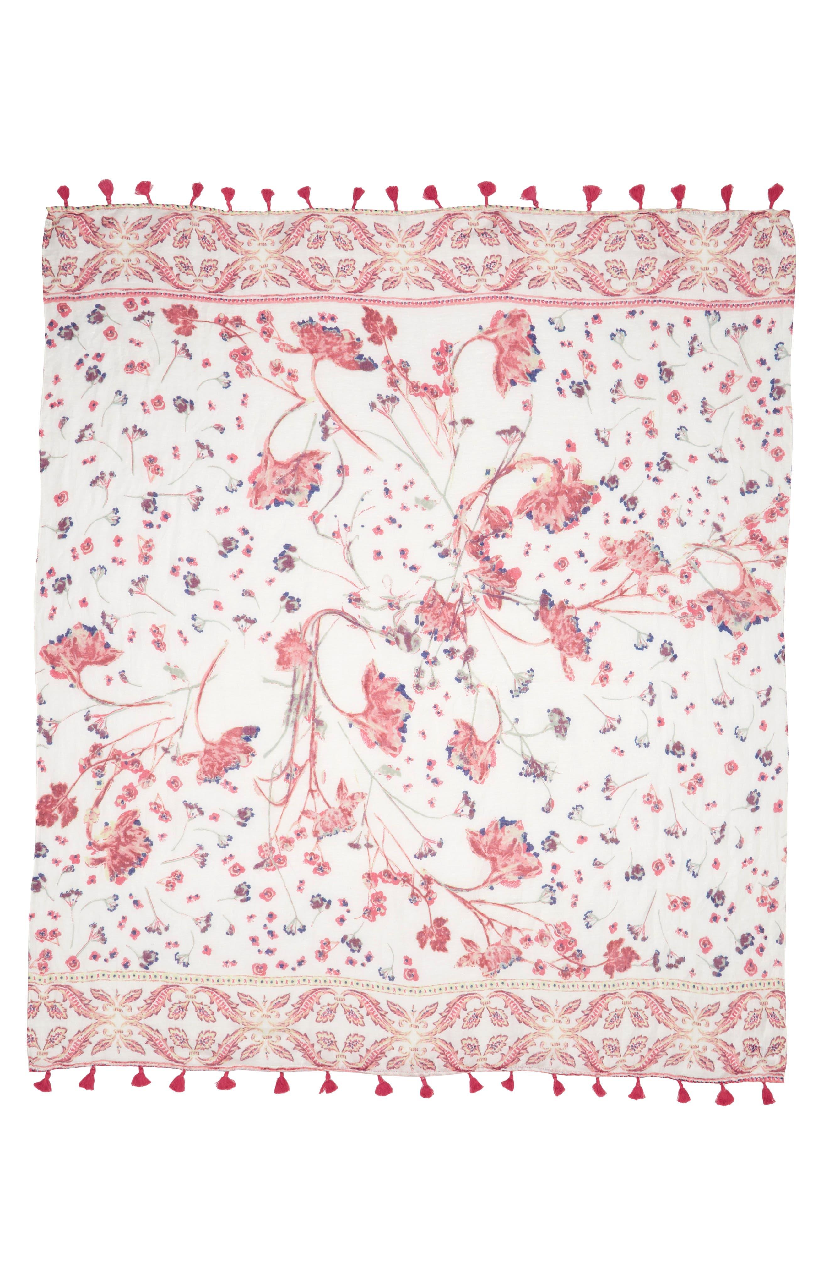 Tassel Scarf,                             Alternate thumbnail 2, color,                             White Pressed Flora