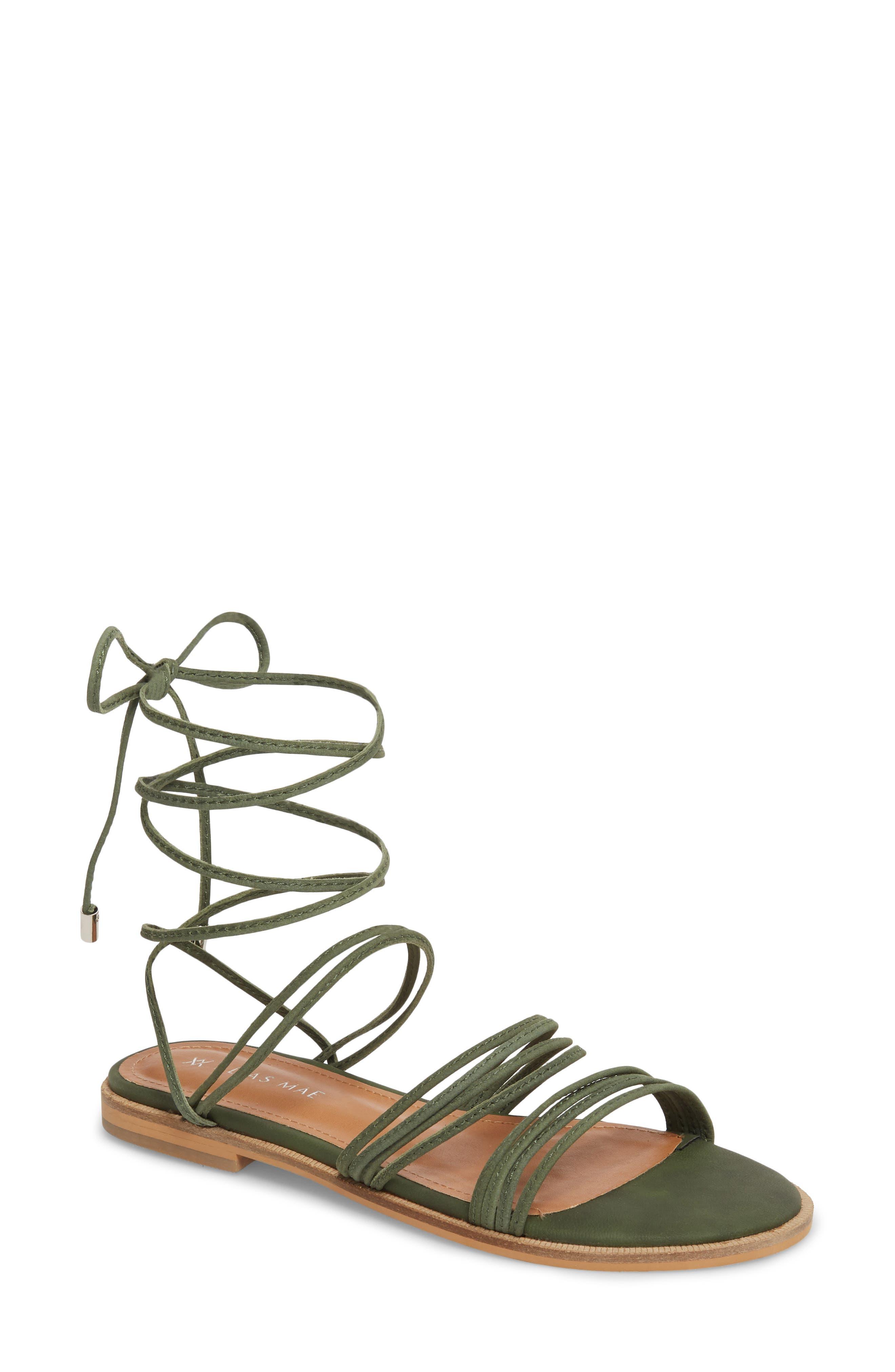Theory Strappy Flat Sandal,                             Main thumbnail 1, color,                             Khaki Leather