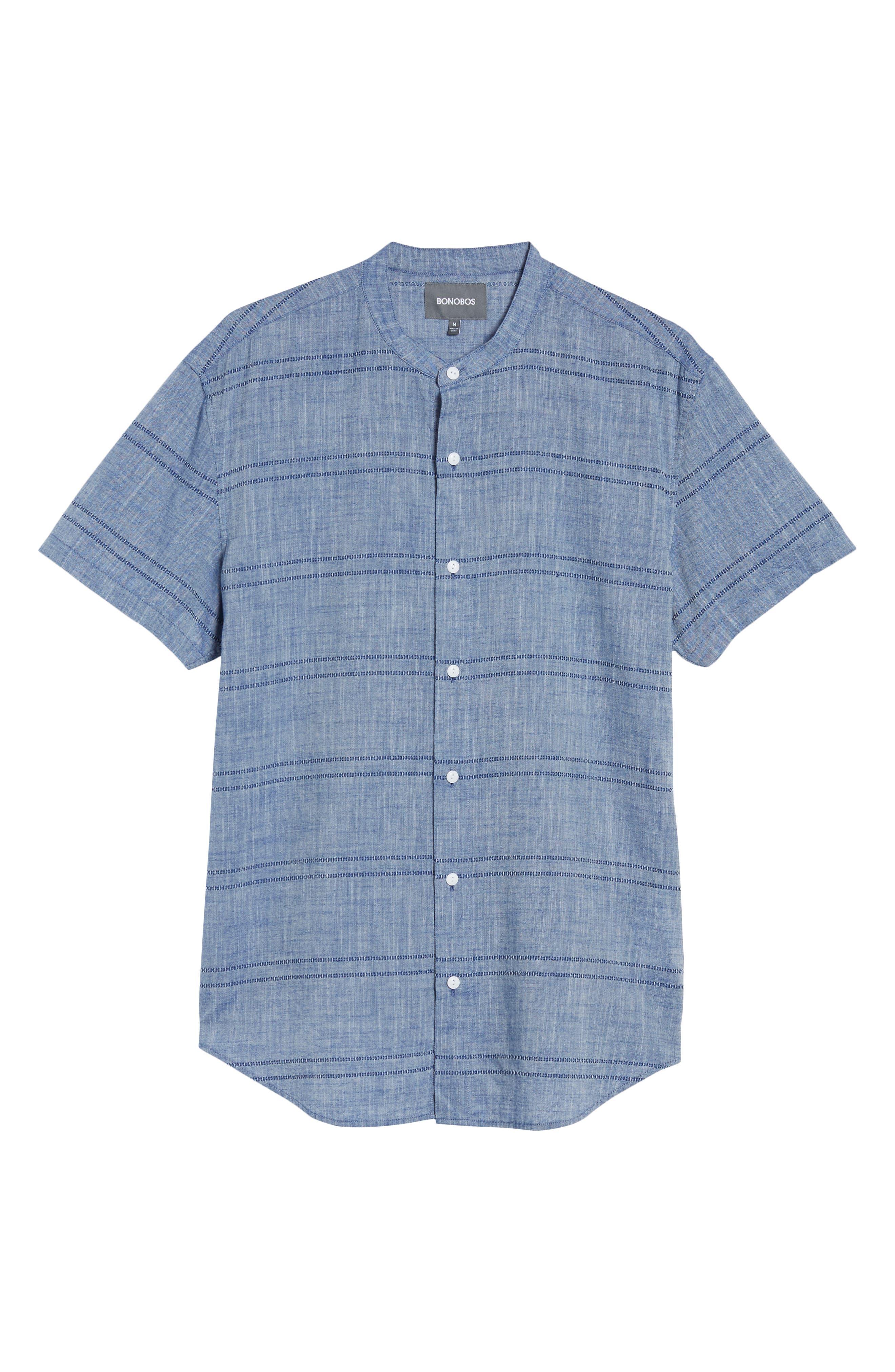 Beach Slim Fit Stripe Sport Shirt,                             Alternate thumbnail 6, color,                             Oak Bluffs Awning - Blue