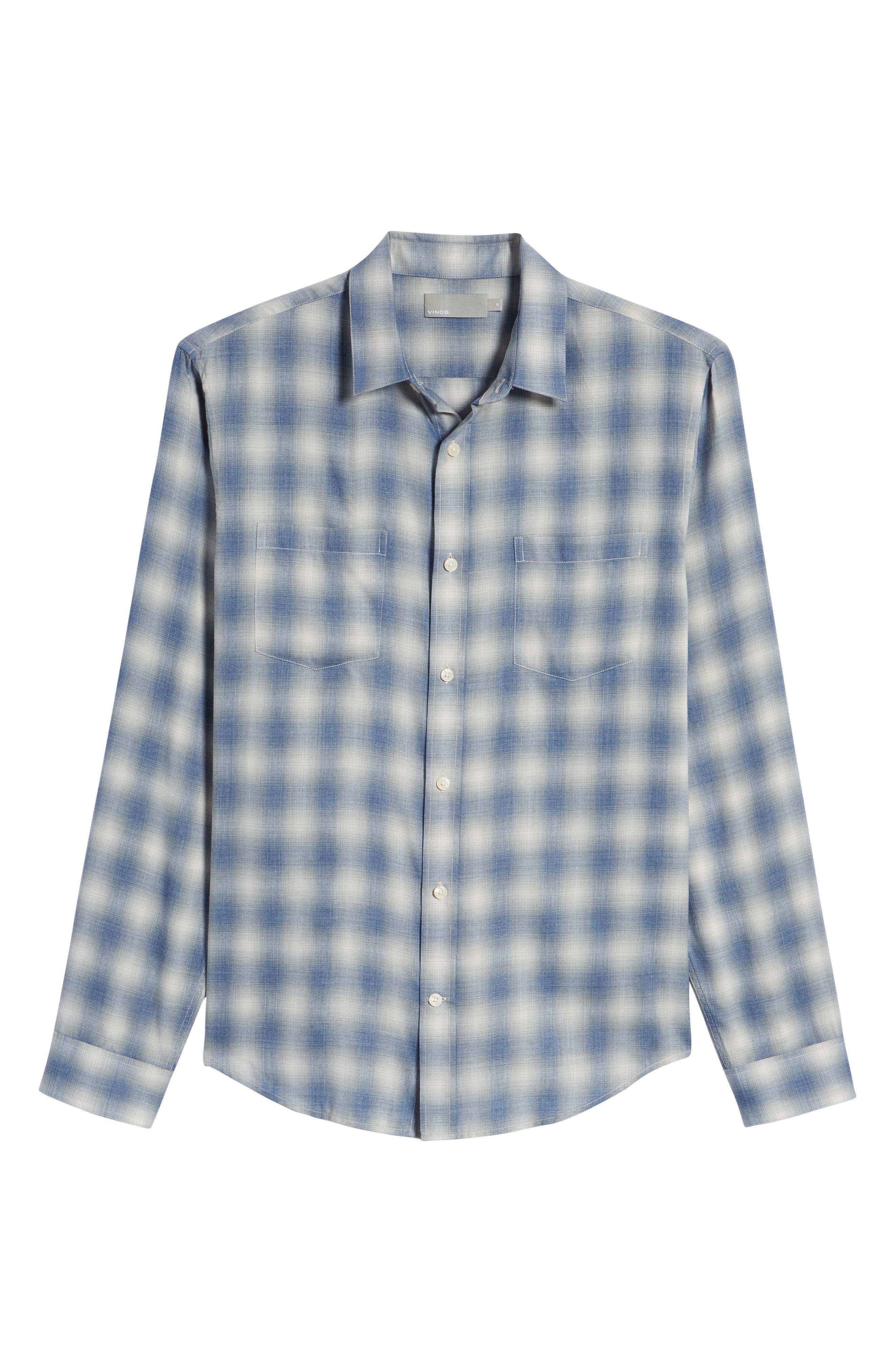 Shadow Slim Fit Plaid Sport Shirt,                             Alternate thumbnail 6, color,                             Spruce Blue