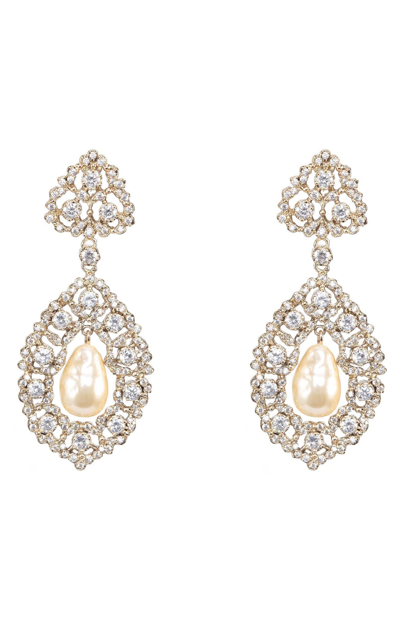 Rococo Double Drop Imitation Pearl Earrings,                         Main,                         color, Ivory Pearl/ Gold