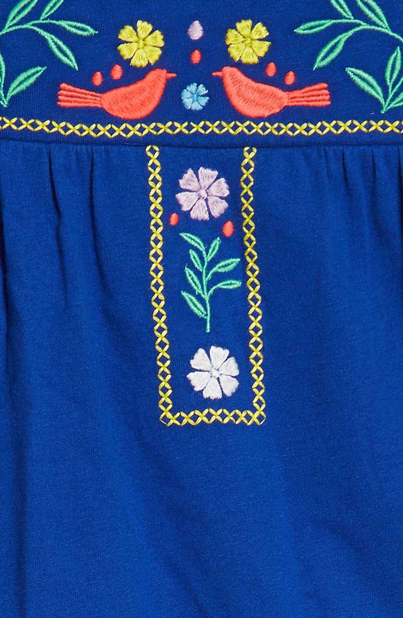 Embroidered Jersey Dress,                             Alternate thumbnail 2, color,                             Orion Blue