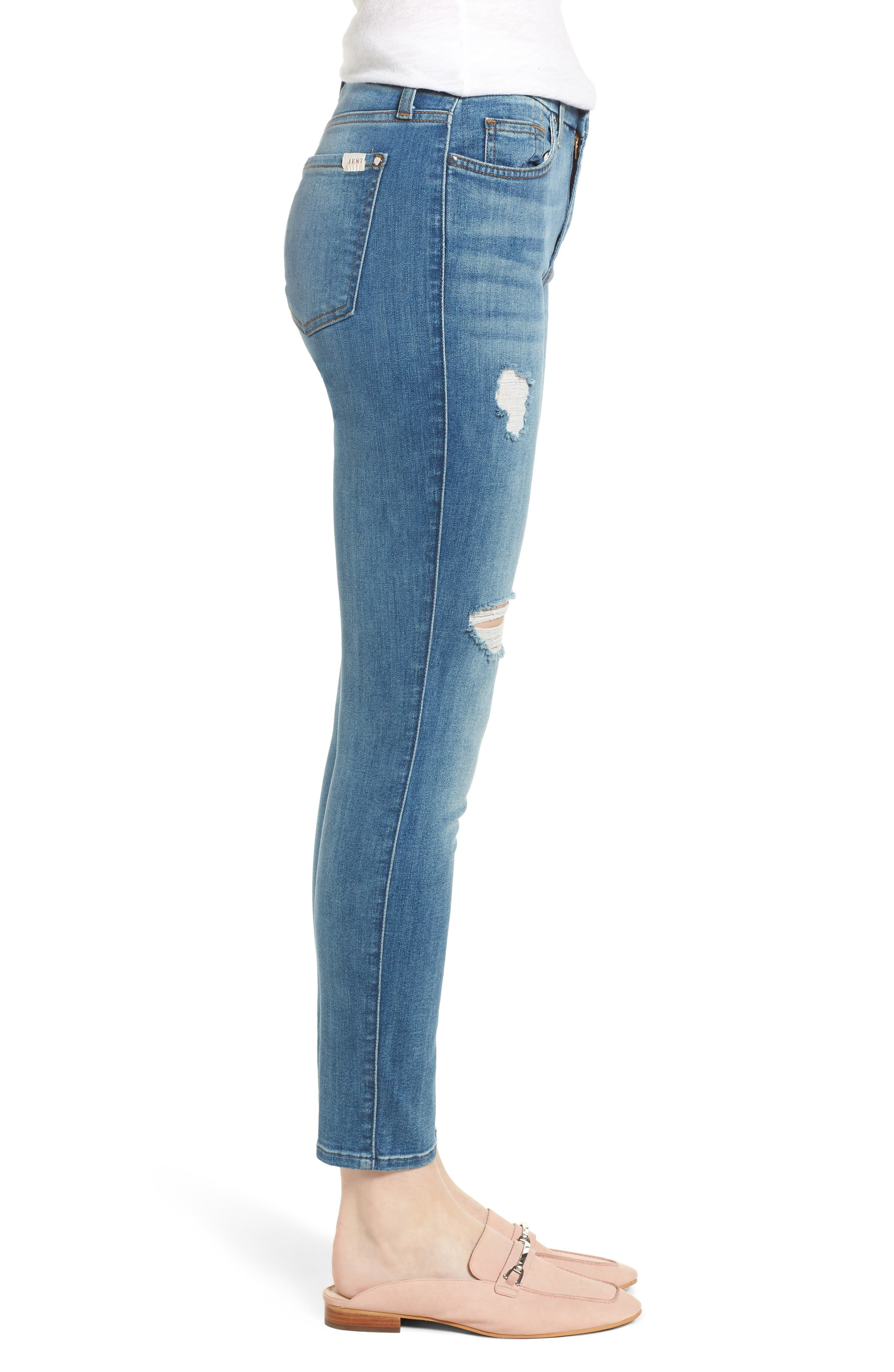 Ripped Ankle Skinny Jeans,                             Alternate thumbnail 3, color,                             Symphony Blue