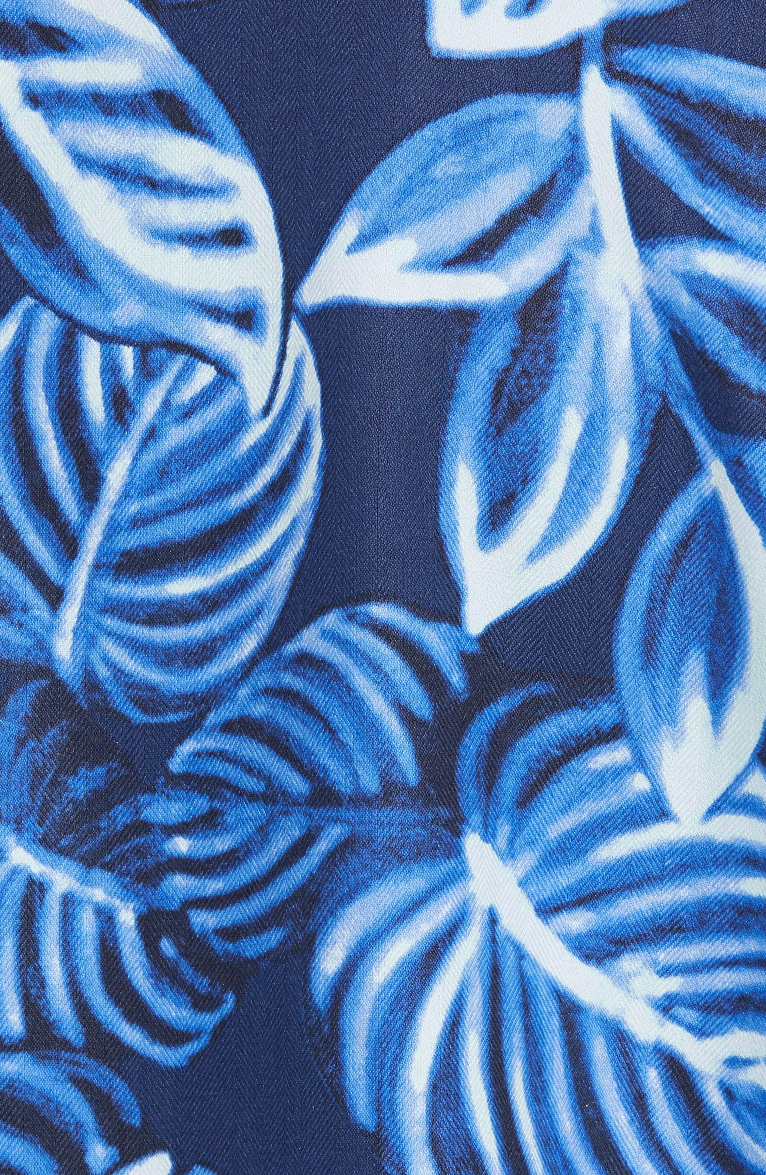 Luna Leaves Silk Camp Shirt,                             Alternate thumbnail 5, color,                             Ocean Deep